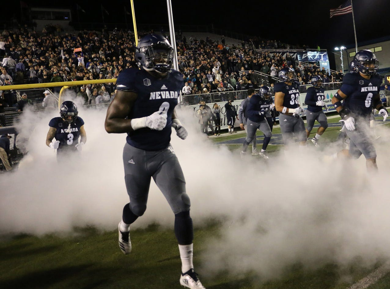Nevada takes on Boise St. during their football game at Mackay Stadium in Reno on Oct. 13, 2018.