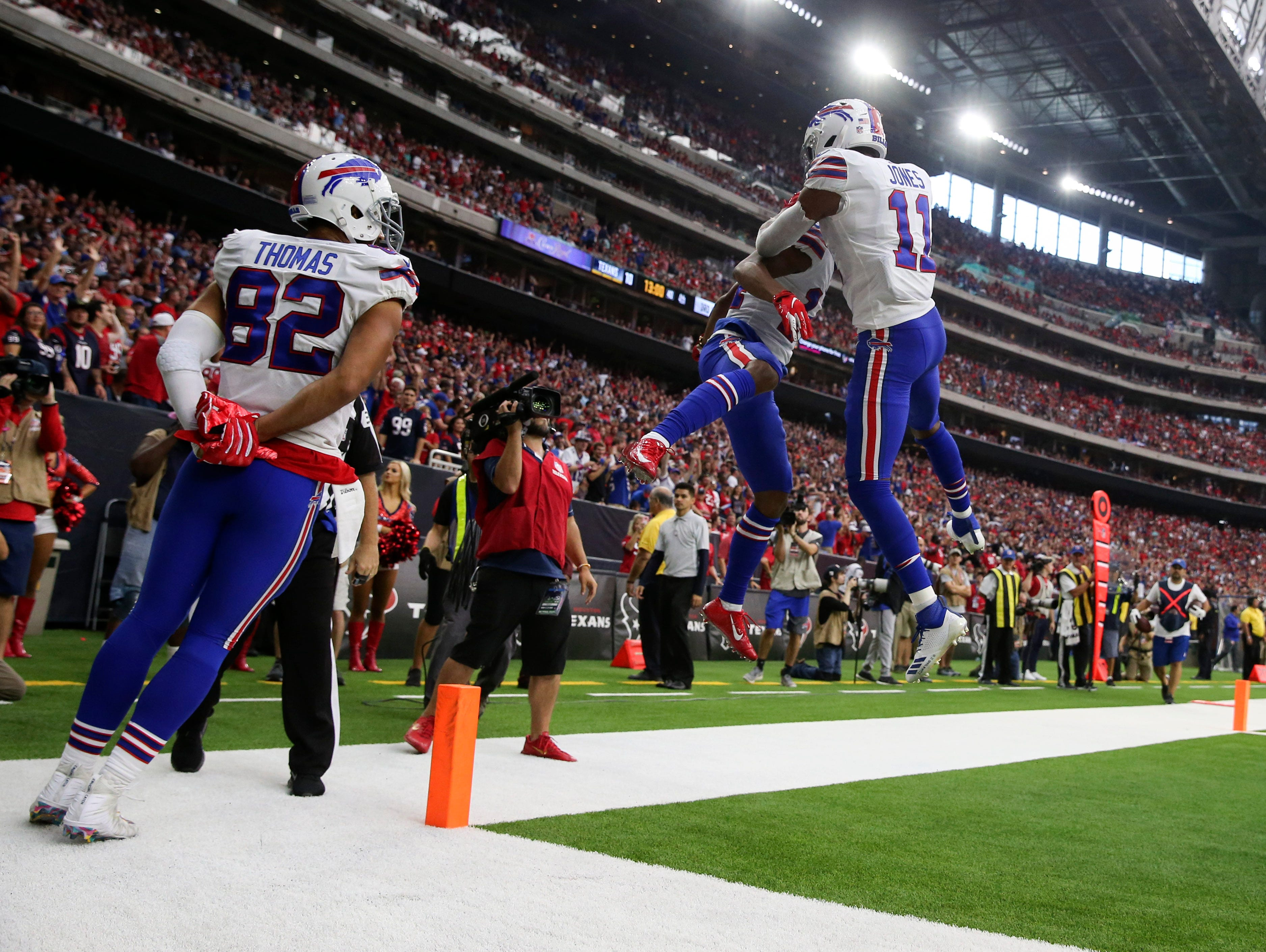Oct 14, 2018; Houston, TX, USA; Buffalo Bills wide receiver Zay Jones (11) celebrates with Buffalo Bills wide receiver Ray-Ray McCloud (14) after catching a touchdown during the second half at NRG Stadium. Mandatory Credit: Kevin Jairaj-USA TODAY Sports