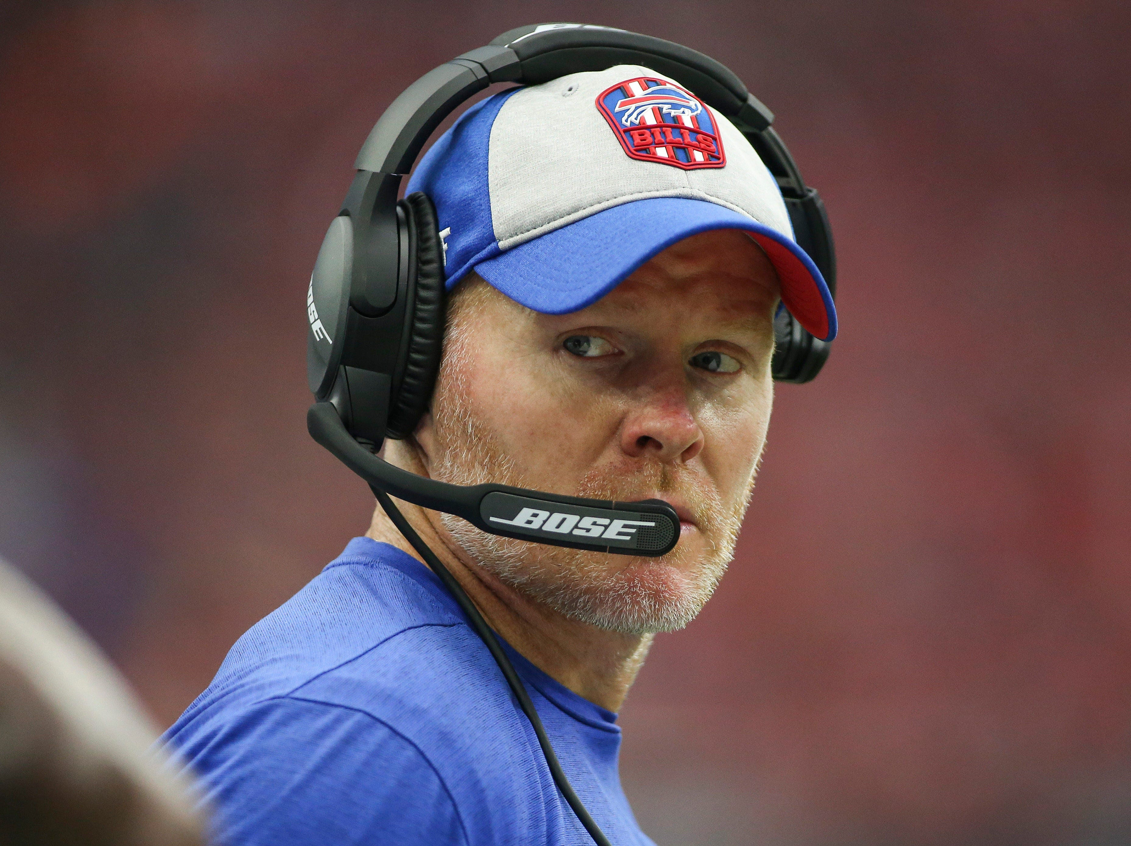 Oct 14, 2018; Houston, TX, USA; Buffalo Bills head coach Sean McDermott looks on from the sideline during the second quarter against the Houston Texans at NRG Stadium. Mandatory Credit: Troy Taormina-USA TODAY Sports