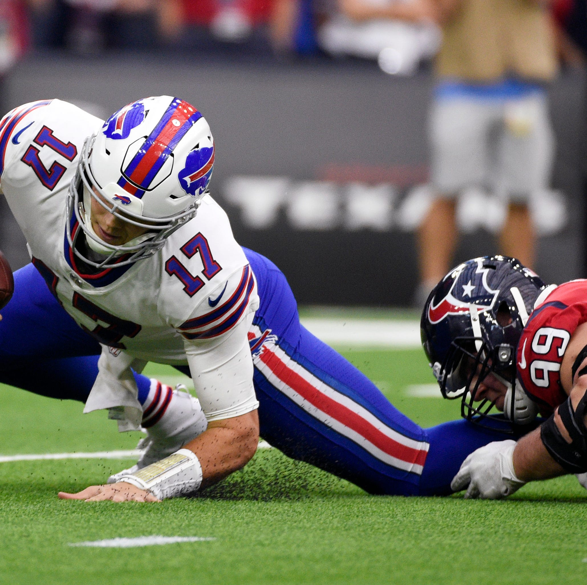 Josh Allen injures elbow and Buffalo turns to Nathan Peterman, who throws pick-six in loss
