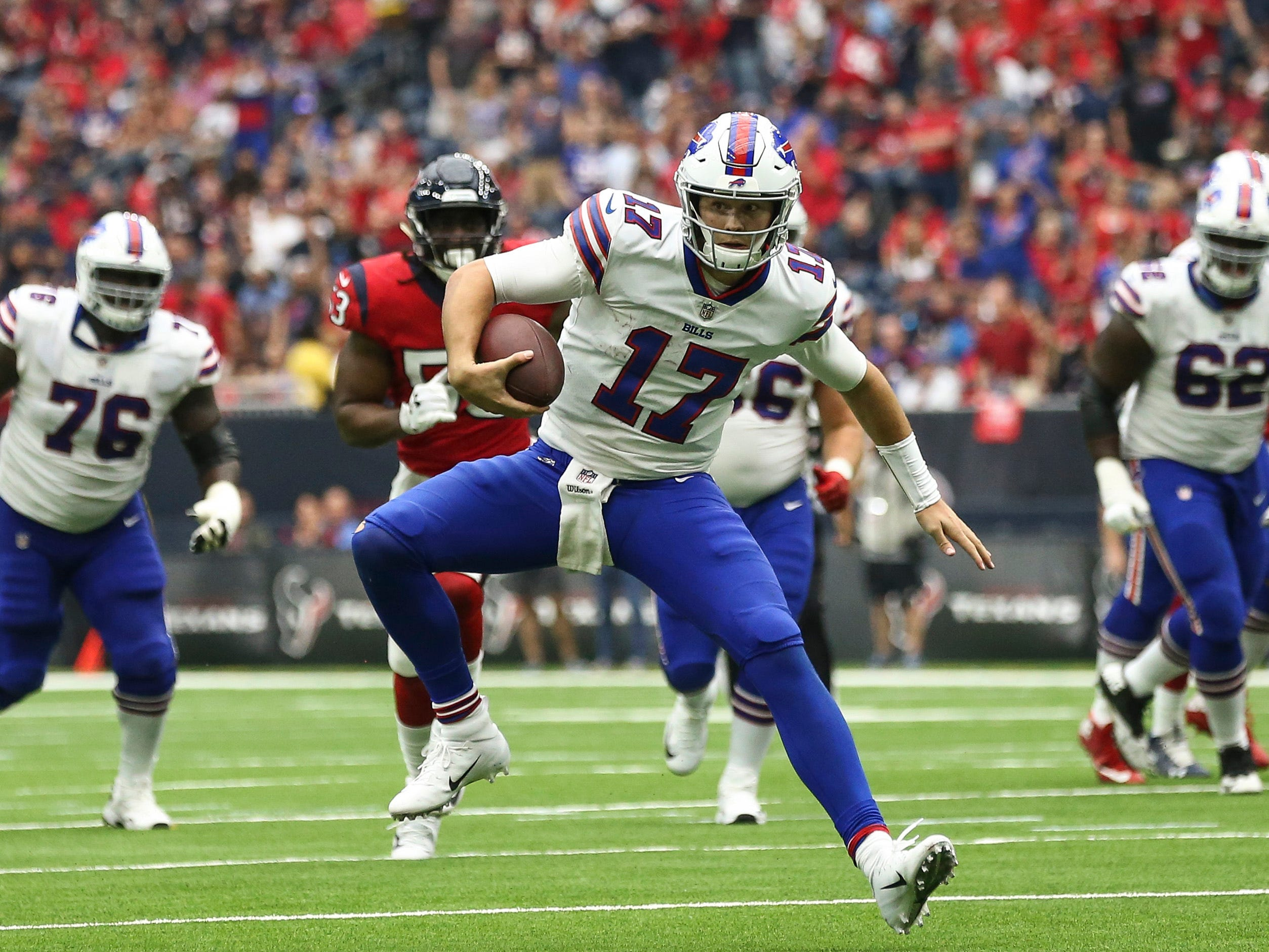 Oct 14, 2018; Houston, TX, USA; Buffalo Bills quarterback Josh Allen (17) runs with the ball during the third quarter against the Houston Texans at NRG Stadium. Mandatory Credit: Troy Taormina-USA TODAY Sports