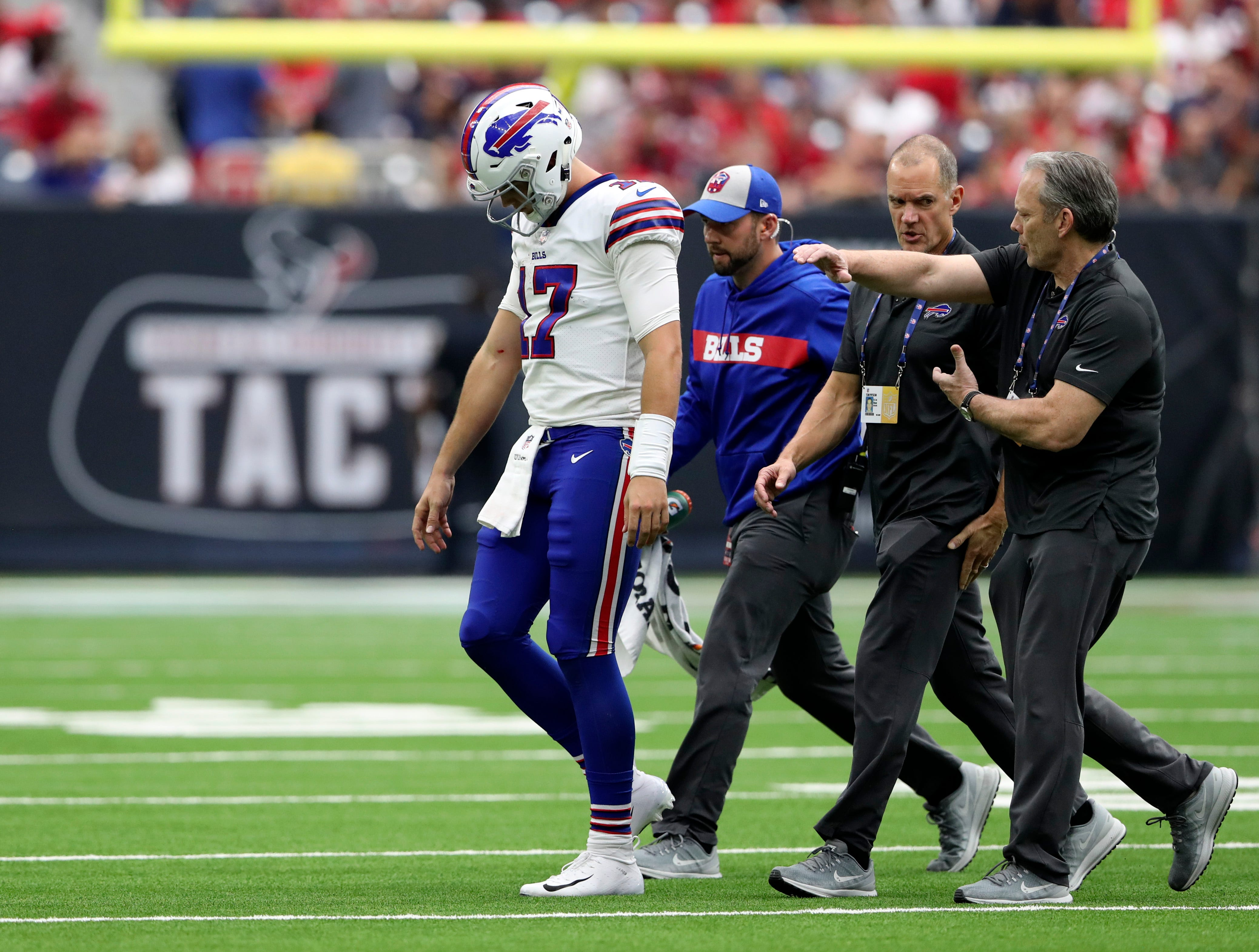 Oct 14, 2018; Houston, TX, USA; Buffalo Bills quarterback Josh Allen (17) walks off the field injured during the second half against the Houston Texans at NRG Stadium. Mandatory Credit: Kevin Jairaj-USA TODAY Sports