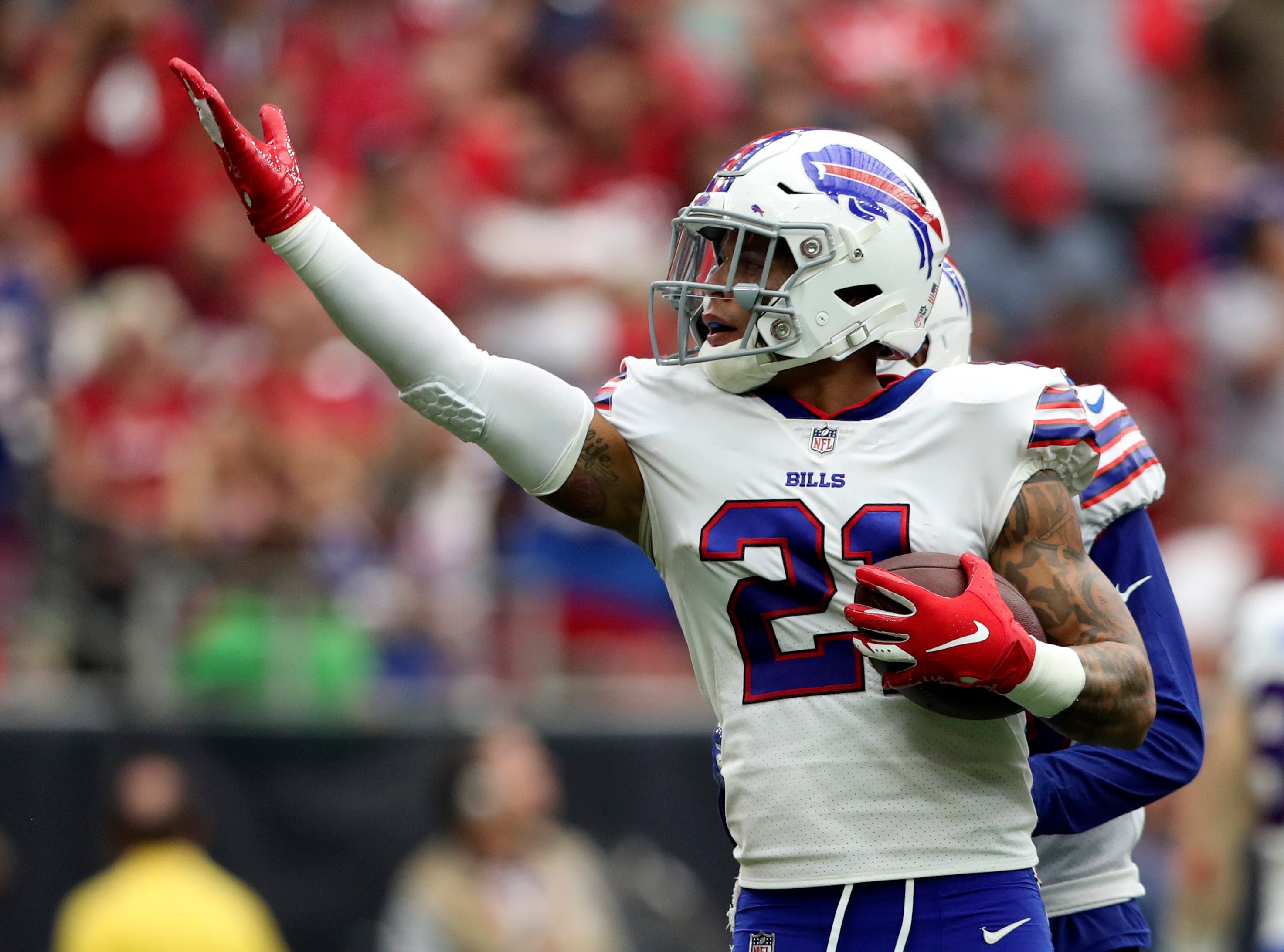 Oct 14, 2018; Houston, TX, USA; Buffalo Bills free safety Jordan Poyer (21) reacts after intercepting a ball during the second quarter against the Houston Texans at NRG Stadium. Mandatory Credit: Kevin Jairaj-USA TODAY Sports