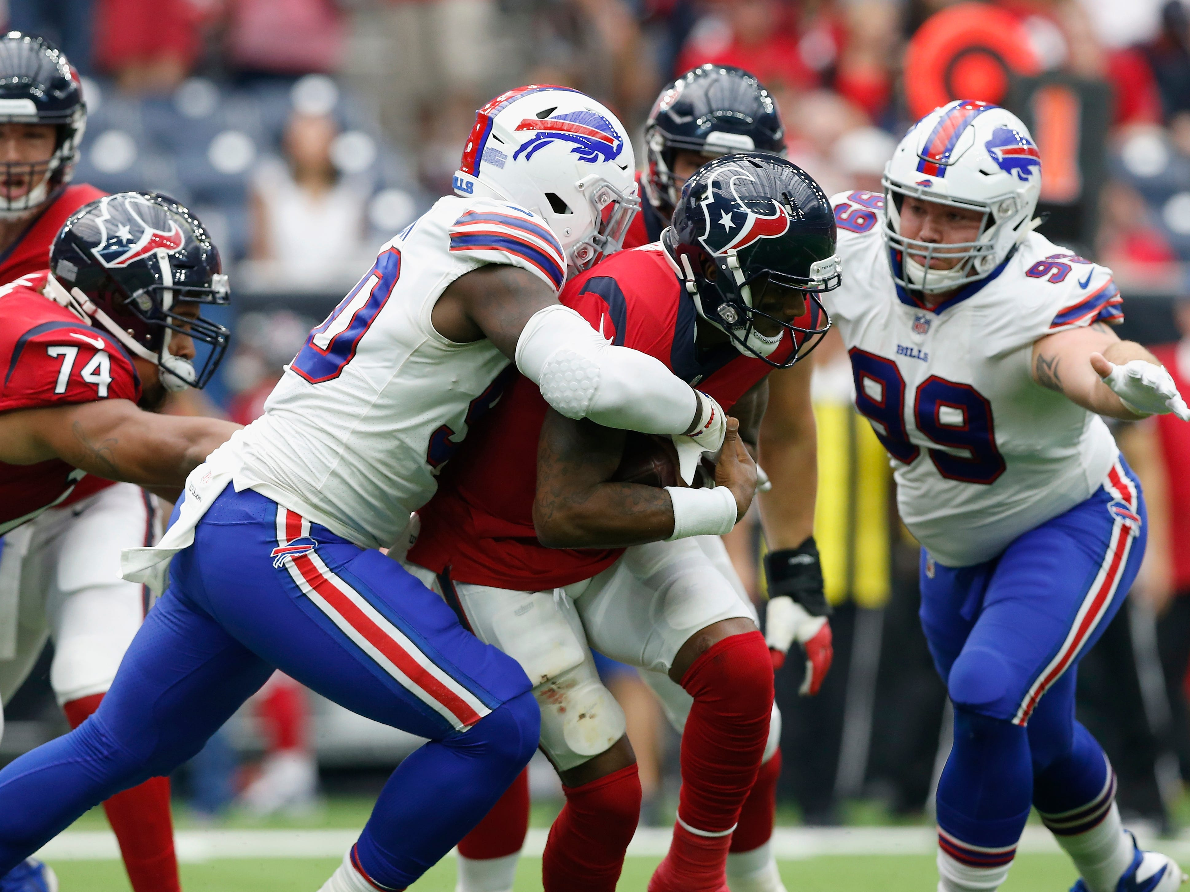 Shaq Lawson of the Buffalo Bills sacks Deshaun Watsonof the Houston Texans in the second half at NRG Stadium last Sunday.