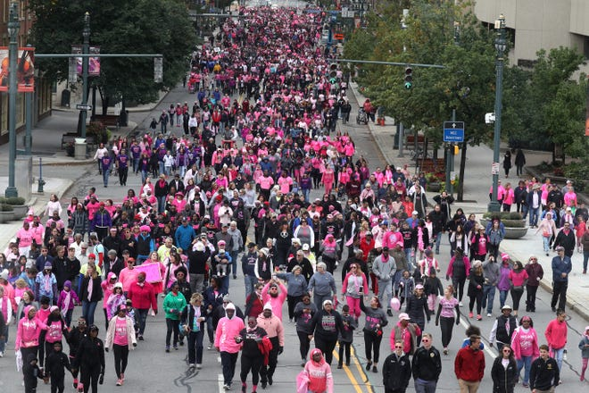 More than 10,000 people walk along Main Street in Rochester, t for the Making Strides Against Breast Cancer walk from Frontier Field to the Liberty Pole.