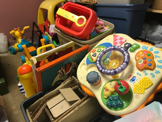 Collected used toys are stored at Parkminster Presbyterian Church. They will be cleaned and sold at People's Ministry in Christ, 516 Dewey Ave.