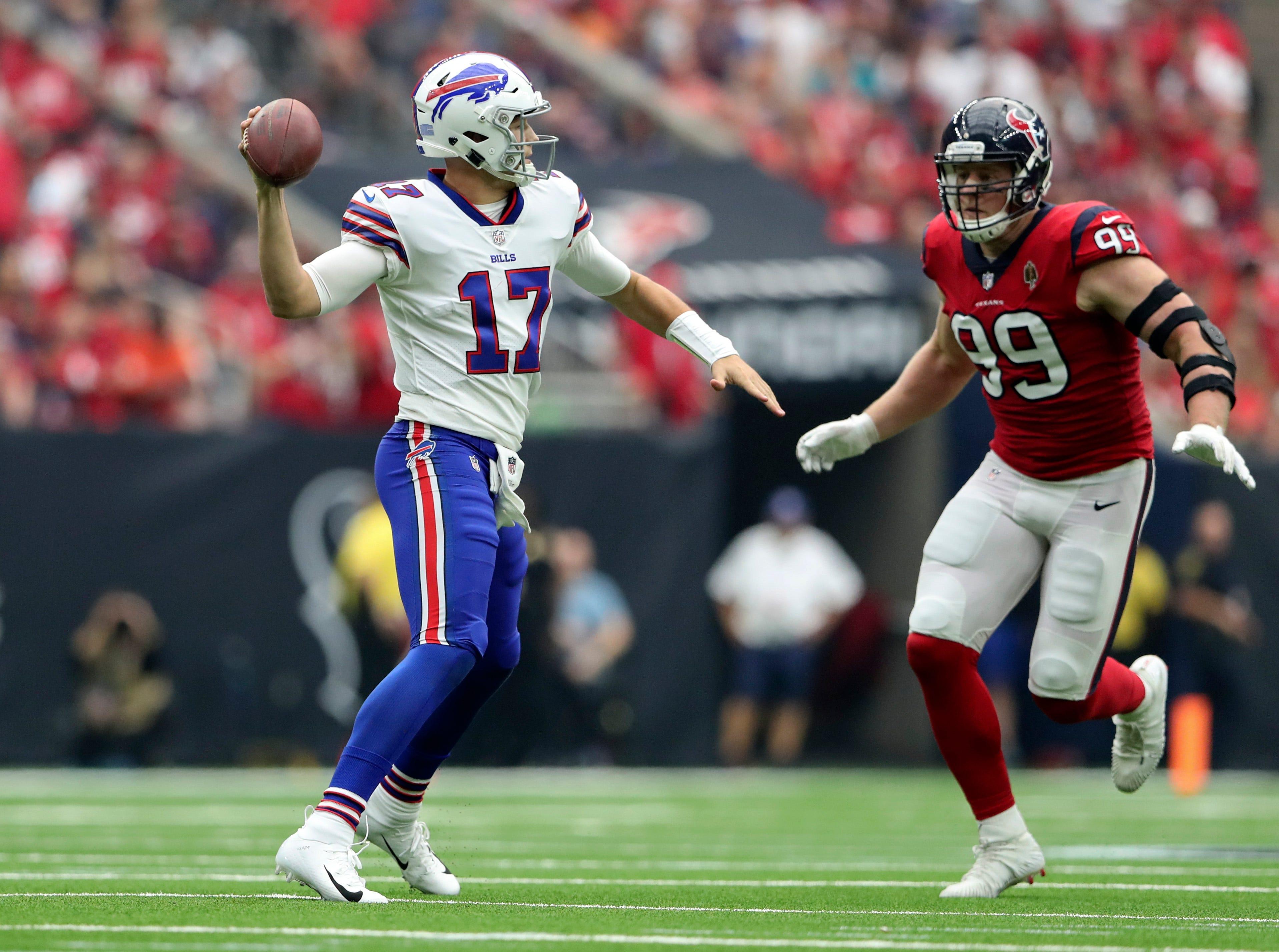 Oct 14, 2018; Houston, TX, USA; Houston Texans defensive end J.J. Watt (99) chases Buffalo Bills quarterback Josh Allen (17) during the second quarter at NRG Stadium. Mandatory Credit: Kevin Jairaj-USA TODAY Sports