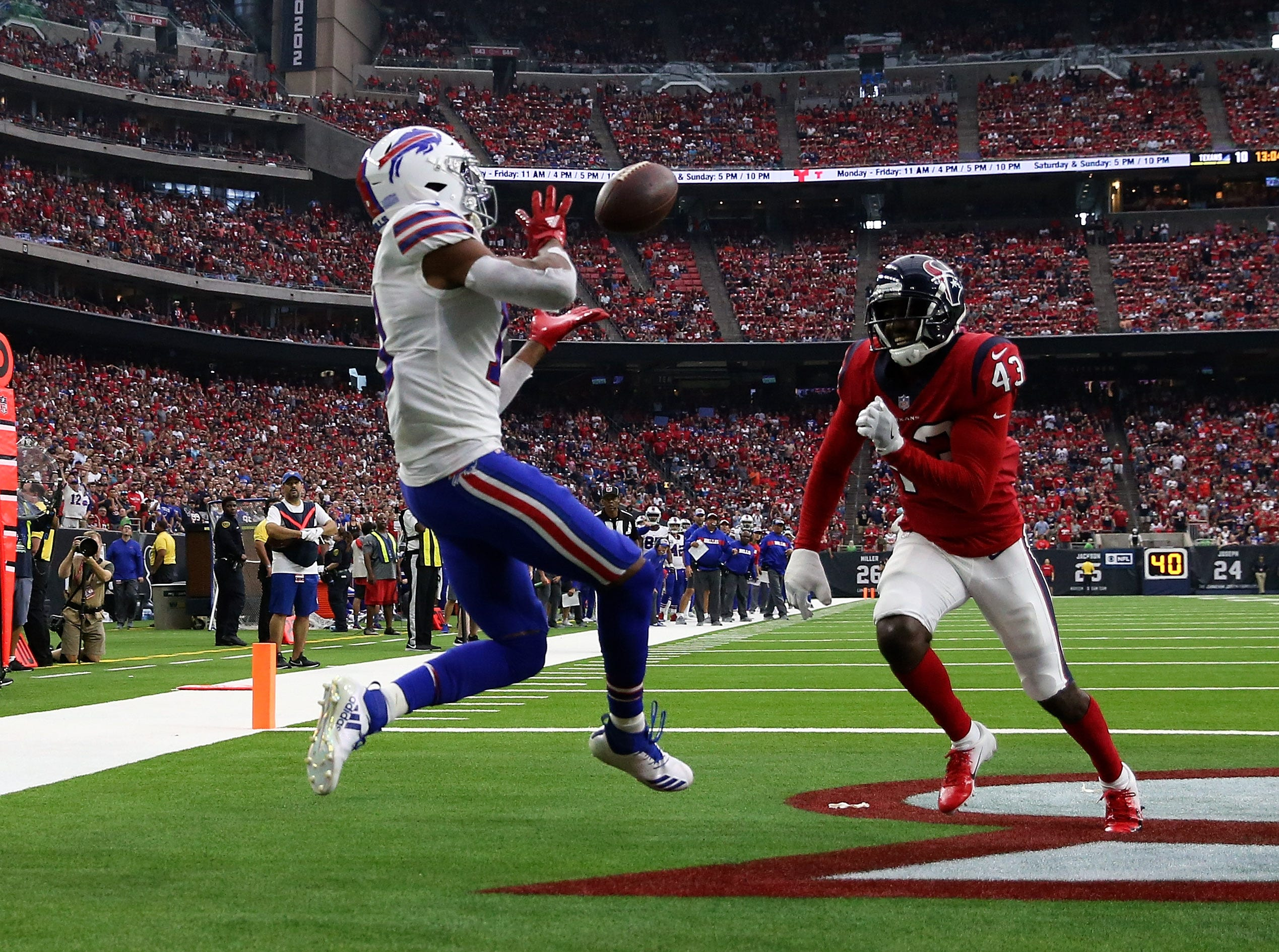 Oct 14, 2018; Houston, TX, USA; Buffalo Bills wide receiver Zay Jones (11) catches a touchdown  pass past Houston Texans defensive back Shareece Wright (43) during the second half at NRG Stadium. Mandatory Credit: Kevin Jairaj-USA TODAY Sports