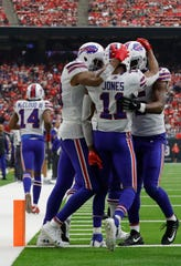 Zay Jones of the Buffalo Bills celebrates a touchdown catch against Houston on Oct. 14.