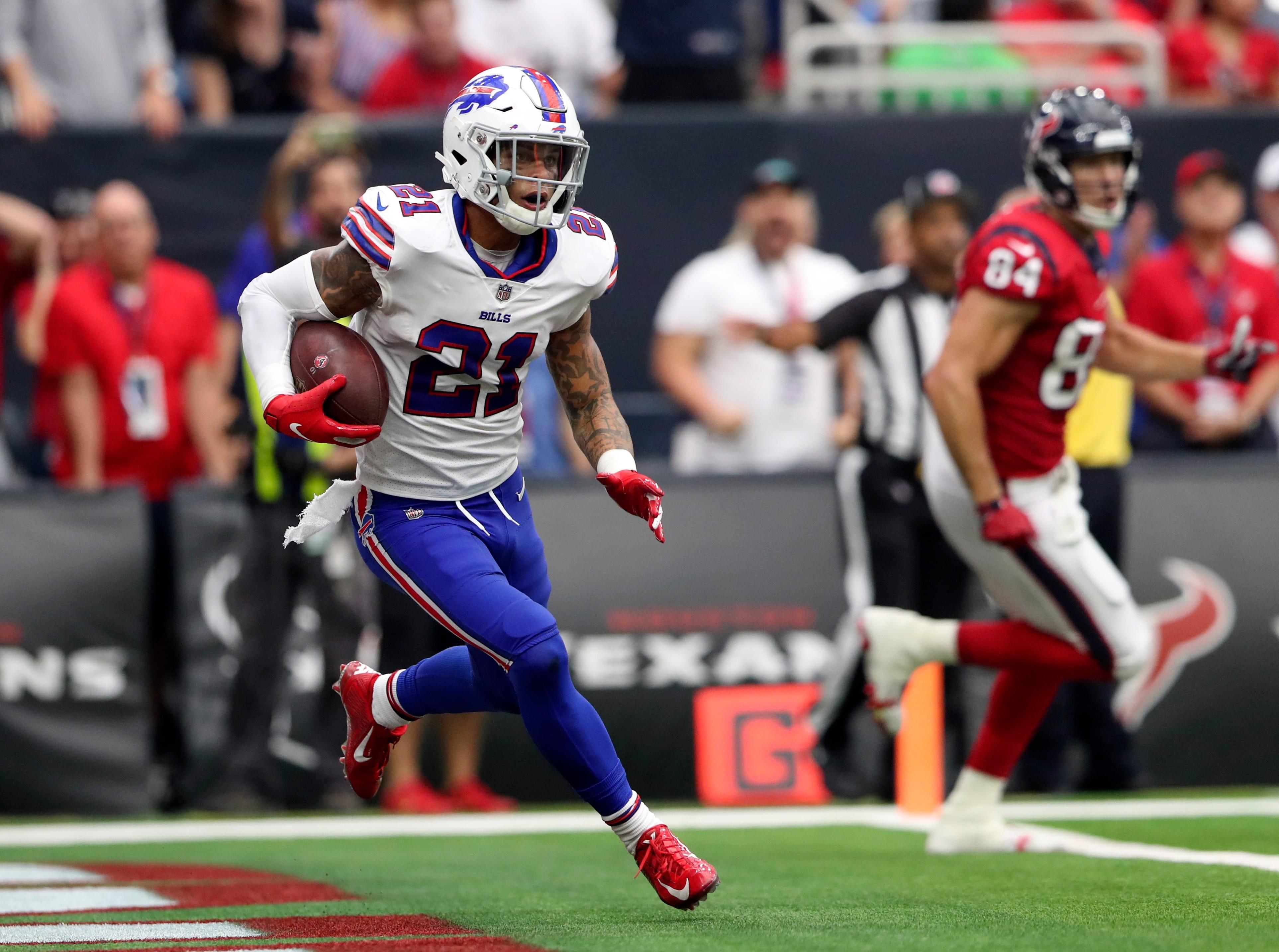 Oct 14, 2018; Houston, TX, USA; Buffalo Bills free safety Jordan Poyer (21) intercepts a ball during the second quarter against the Houston Texans at NRG Stadium. Mandatory Credit: Kevin Jairaj-USA TODAY Sports