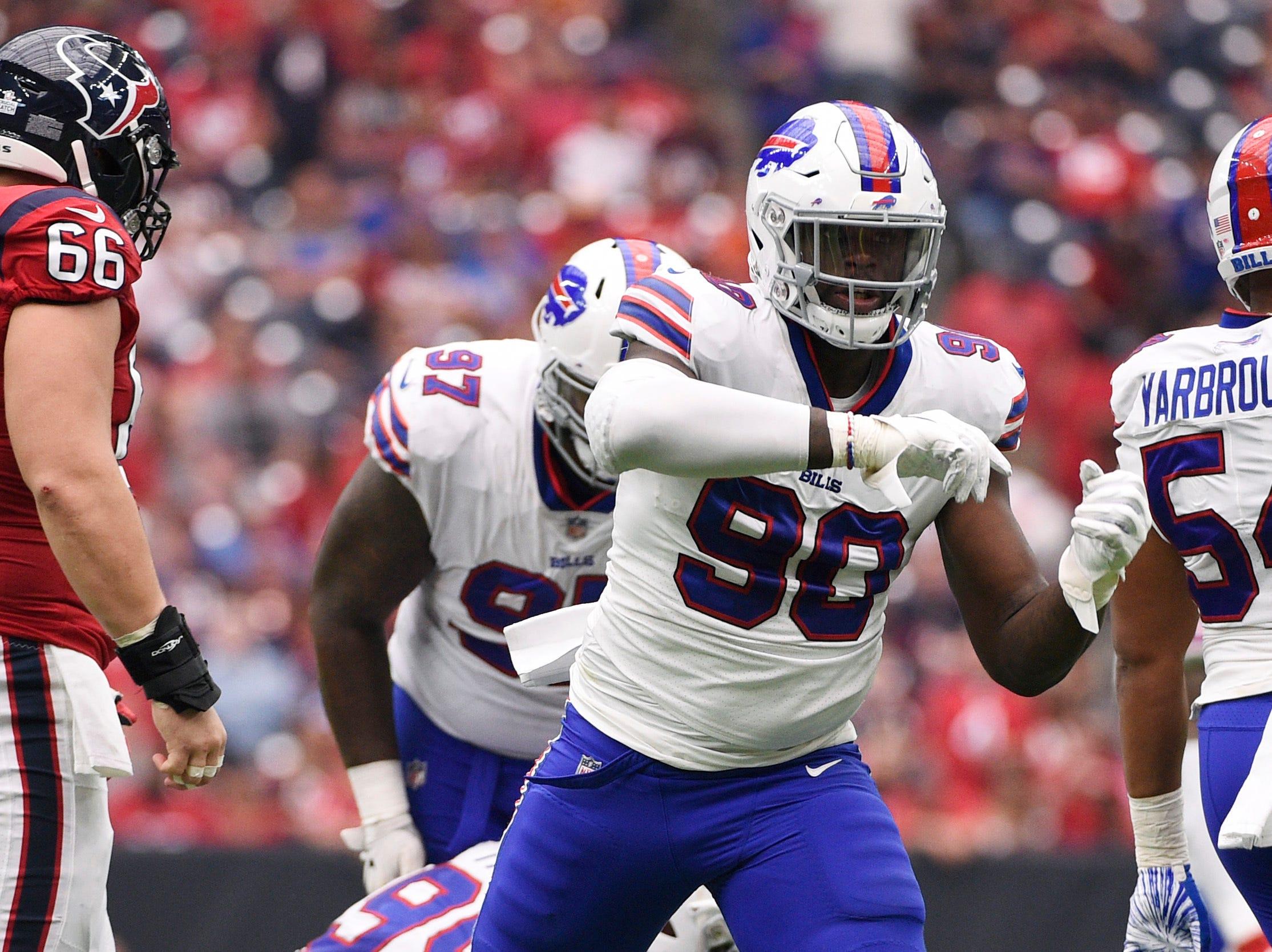 Buffalo Bills defensive end Shaq Lawson (90) celebrates after sacking Houston Texans quarterback Deshaun Watson (4) during the second half of an NFL football game, Sunday, Oct. 14, 2018, in Houston. (AP Photo/Eric Christian Smith)