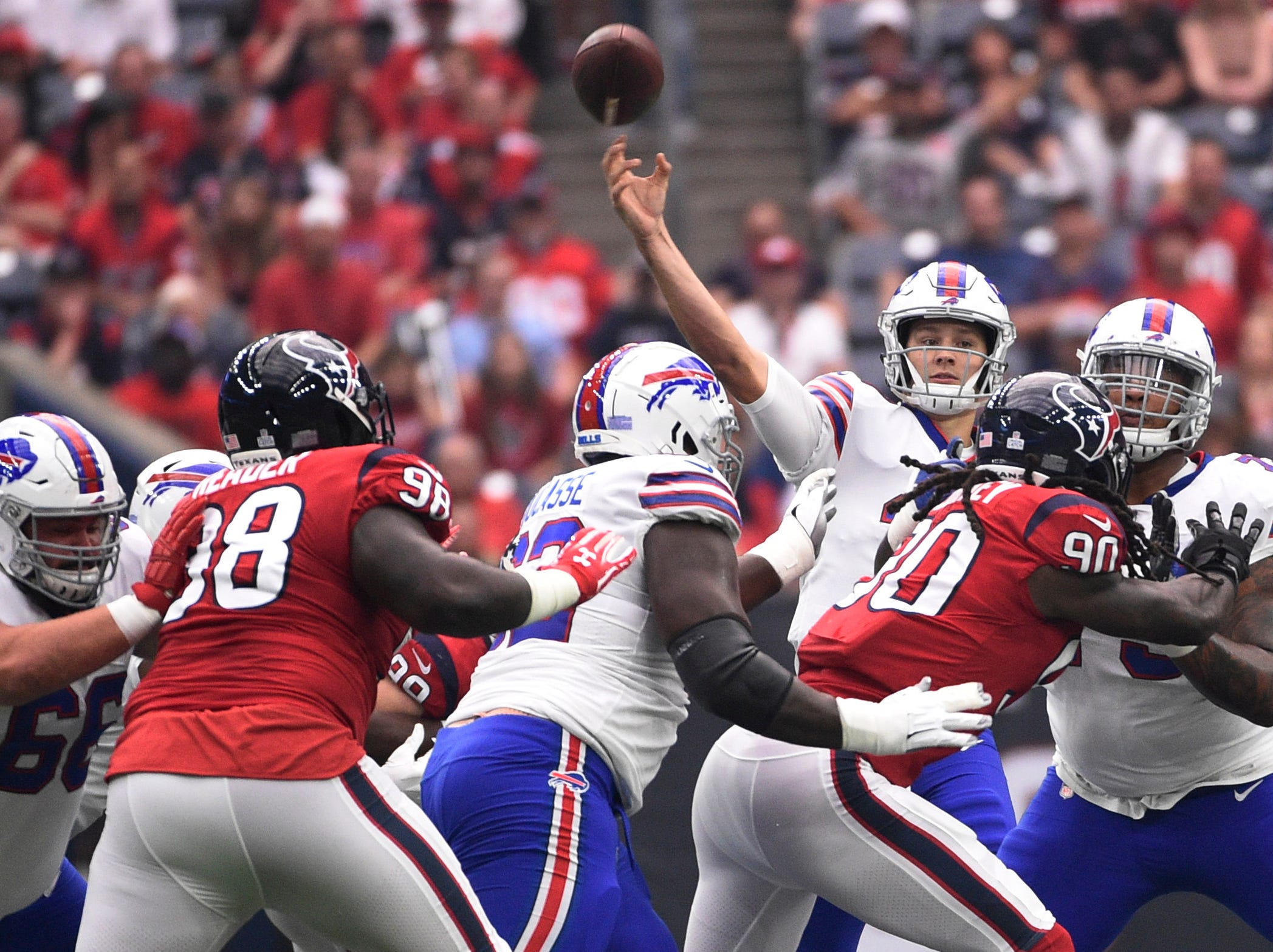 Buffalo Bills quarterback Josh Allen (17) throws against the Houston Texans during the first quarter of an NFL football game, Sunday, Oct. 14, 2018, in Houston. (AP Photo/Eric Christian Smith)