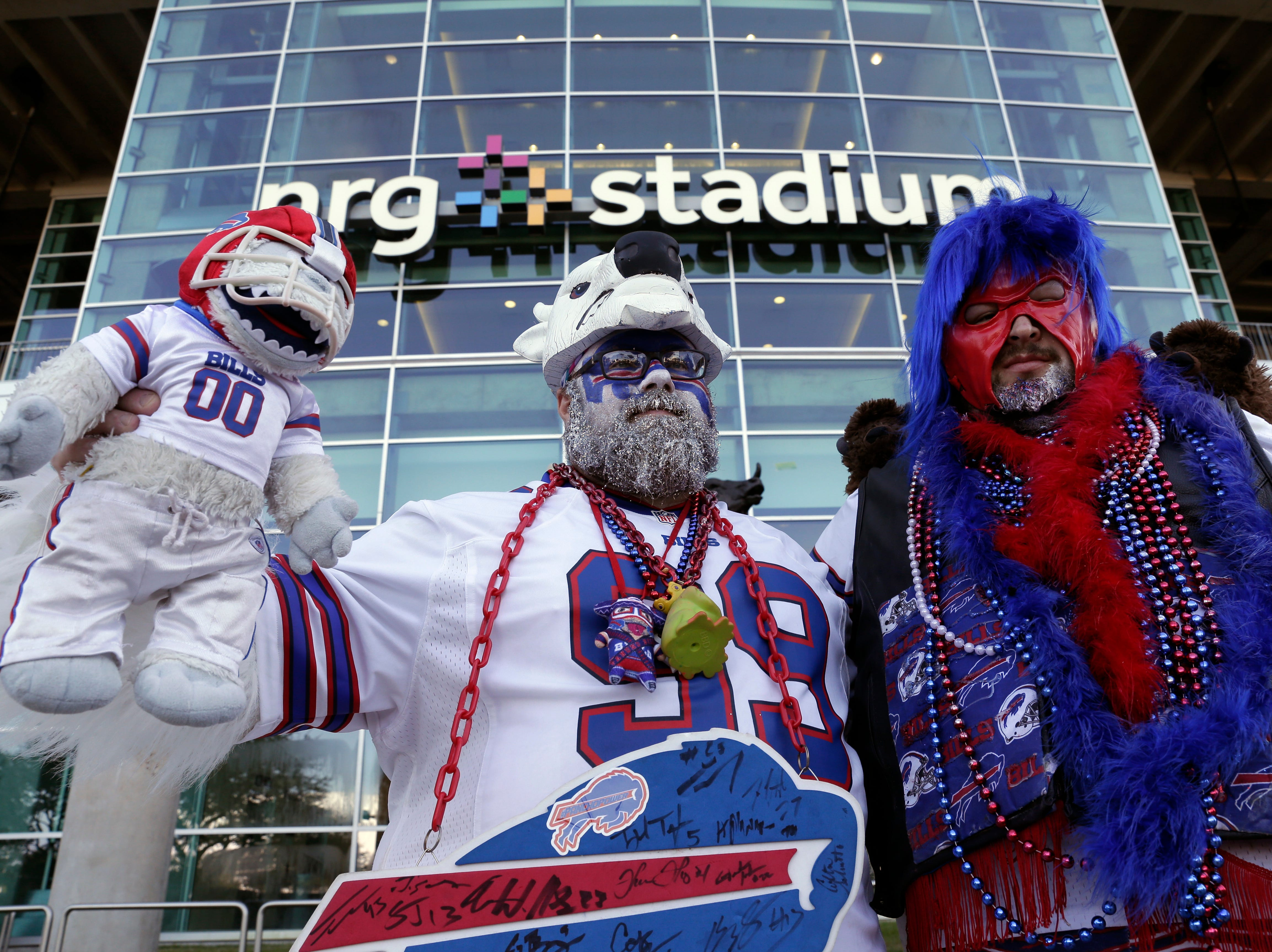 NFL fans before NFL football game between the Houston Texans and the Buffalo Bills, Sunday, Oct. 14, 2018, in Houston. (AP Photo/Michael Wyke)