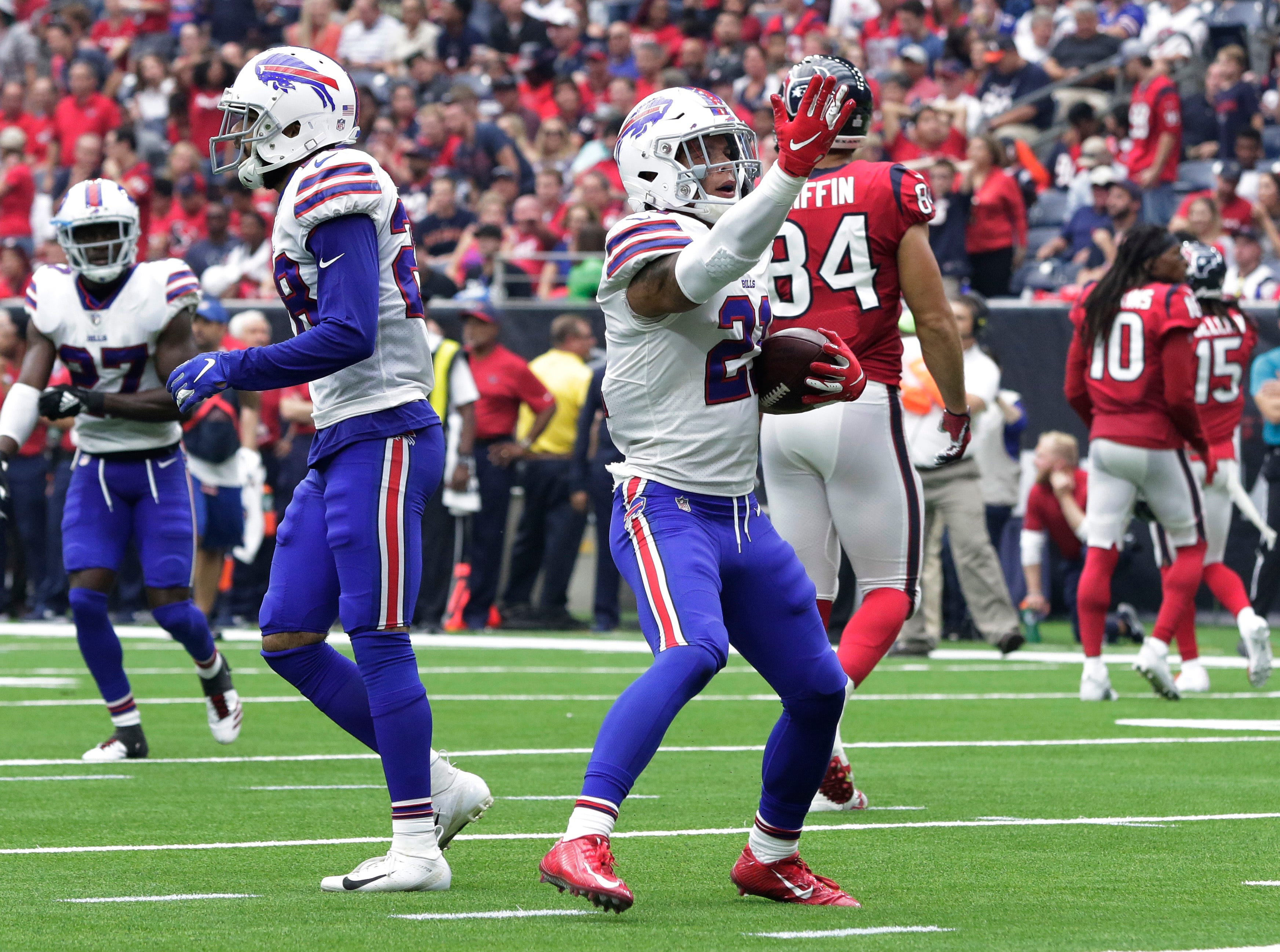Buffalo Bills free safety Jordan Poyer (21) celebrates his interception during the first half of an NFL football game against the Houston Texans, Sunday, Oct. 14, 2018, in Houston. (AP Photo/Michael Wyke)