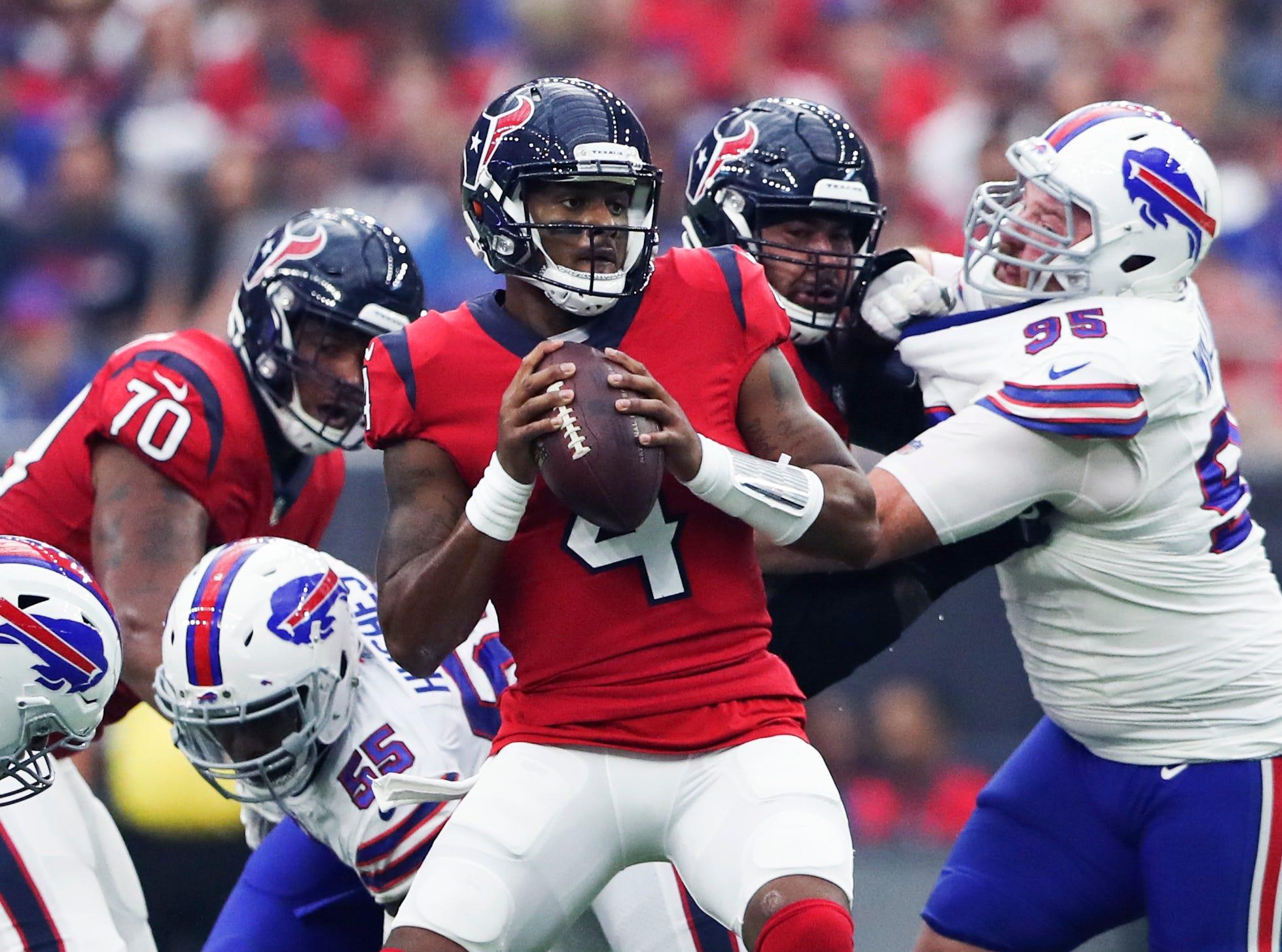 Oct 14, 2018; Houston, TX, USA; Houston Texans quarterback Deshaun Watson (4) throws during the first quarter against the Buffalo Bills at NRG Stadium. Mandatory Credit: Kevin Jairaj-USA TODAY Sports