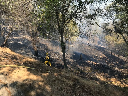 This is the area where the Masonic Fire came up the hill on Sunday, Oct. 14, 2018 toward a home on Barbara Road in Redding.