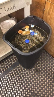The suspect or suspects dumped Gatorade and water into a trash can after breaking into McKay High School's concession stand overnight on Friday.