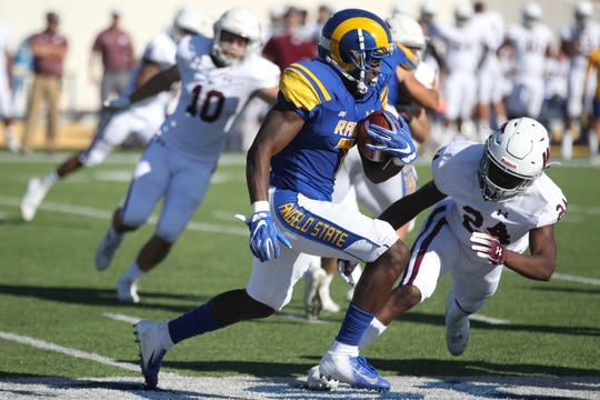 Angelo State University junior wide receiver Larry Johnson had a career performance against Adams State on Saturday with three receptions for 103 yards and two TDs.