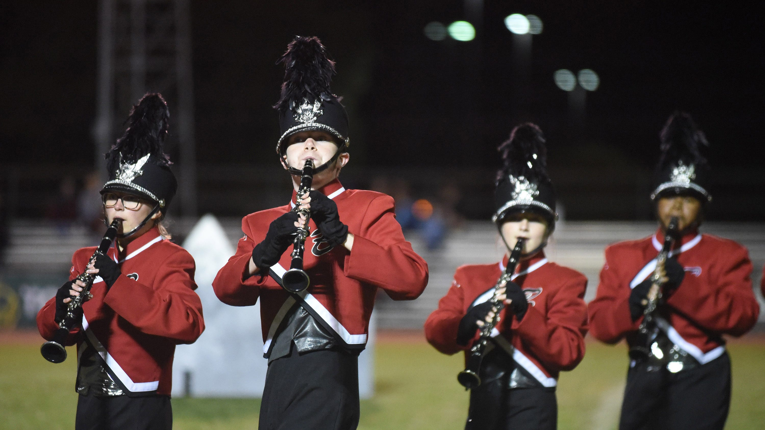 Members of the James M. Bennett High Band perform at the 2018 Delmarvacade of Bands at Wicomico County Stadium Saturday night in Salisbury.