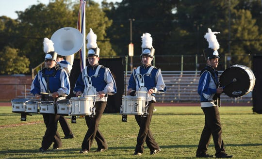 The drum line of North Caroline High School Band performs at the 2018 Delmarvacade of Bands at Wicomico County Stadium Saturday night in Salisbury.