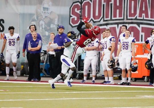USD wide receiver Dakarai Allen attempts to make a catch against Northern Iowa on Saturday in Vermillion.