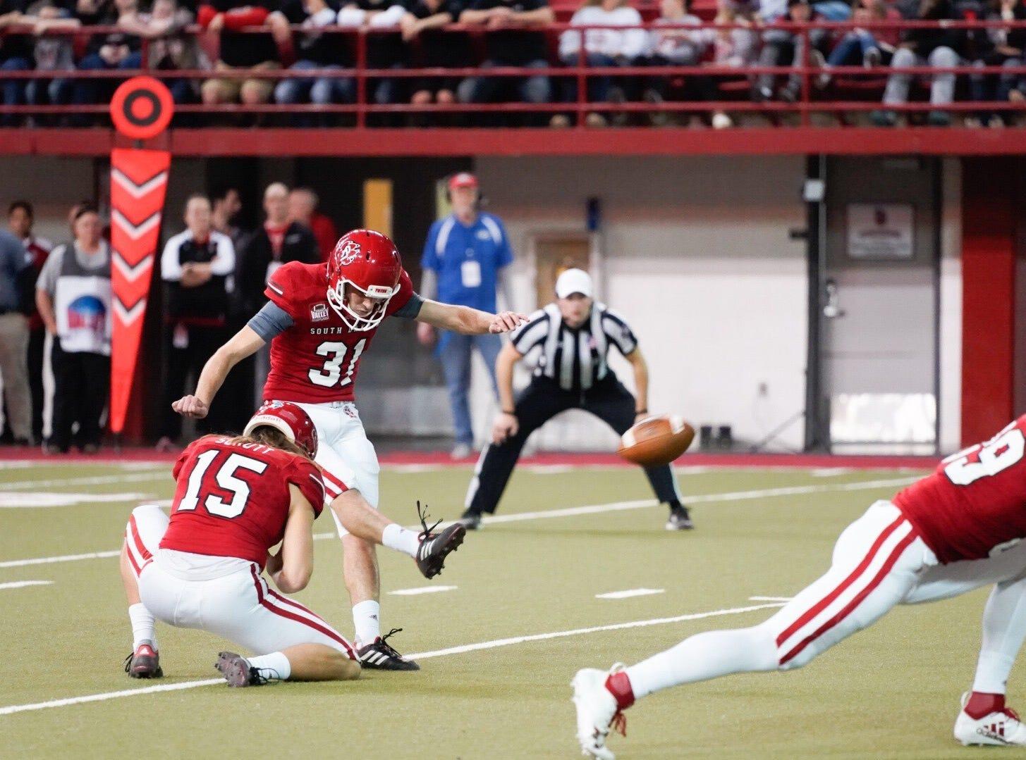 University of South Dakota kicker Mason Lorber attempts a field goal against Northern Iowa on Saturday in Vermillion.