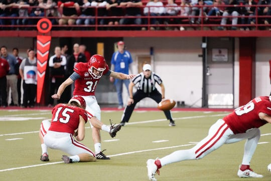 University of South Dakota kicker Mason Lorber attempts a field goal against Northern Iowa on Saturday in Vermillion.
