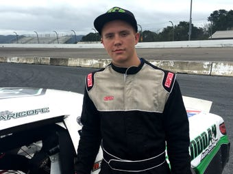 Franklin Caricofe, 15, is getting ready to race his late model stock car in Richmond Saturday.
