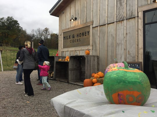People of all ages came out Sunday to paint pumpkins, eat s'mores and enjoy some (adult) cider at Milk & Honey Ciders in St. Joseph.
