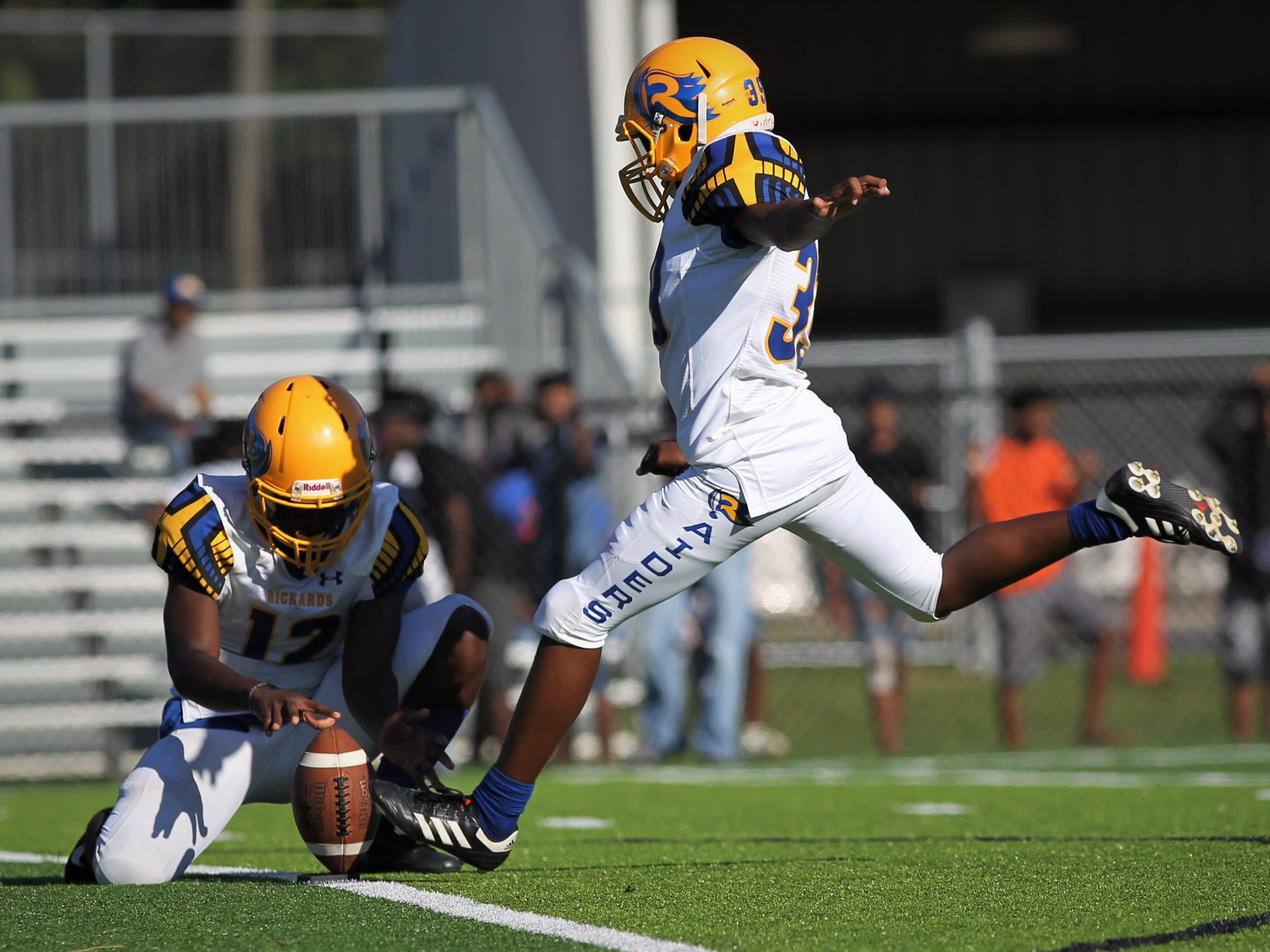 Rickards kicker Nasr Mubarak tries an extra point against Godby that would get blocked.