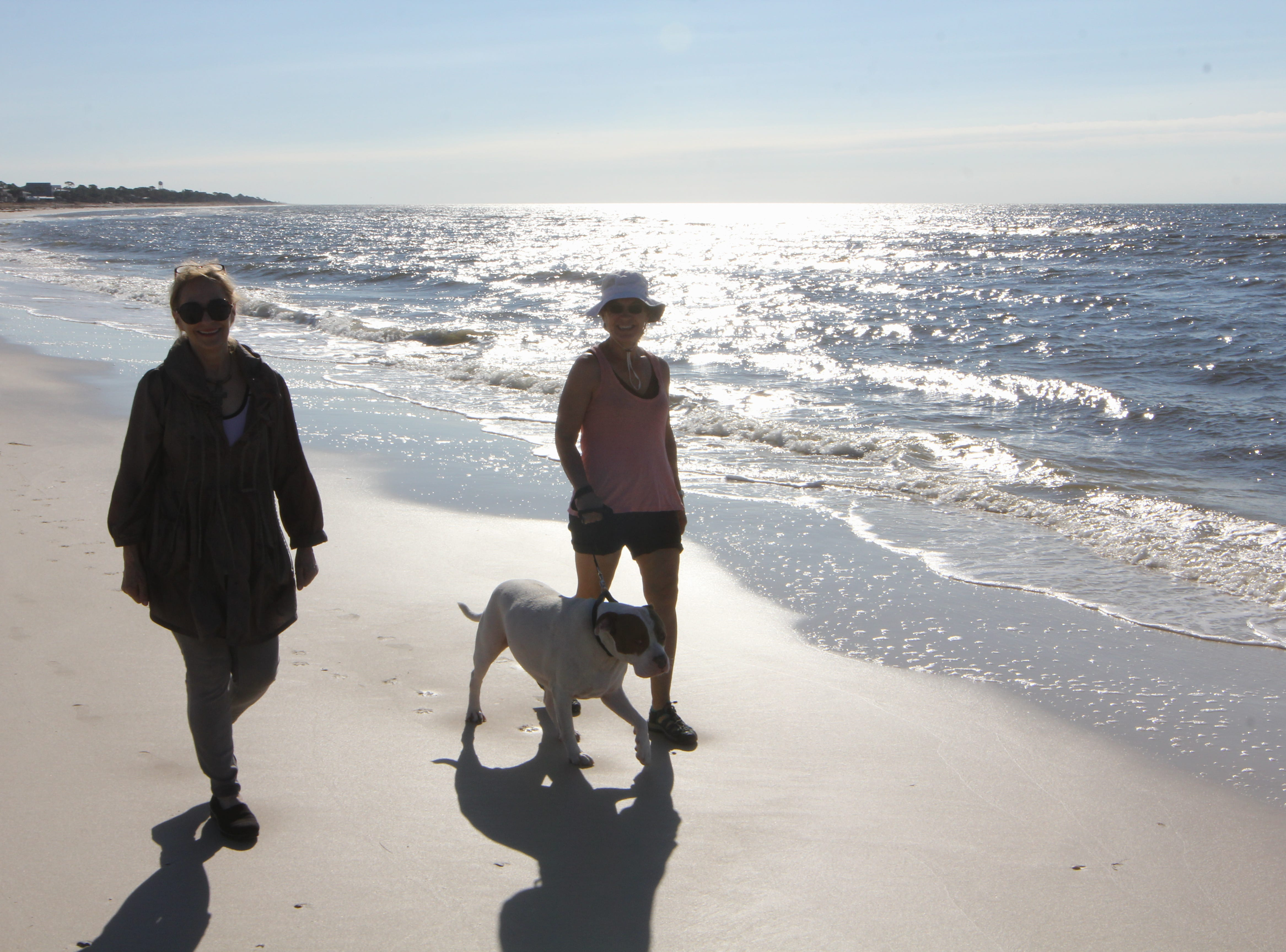 Robin Gammage and her aunt Lou Phillips walk their dog Meaty down the beach on Alligator Point.