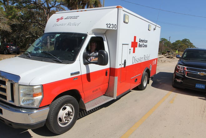 A Red Cross disaster relief vehicle arrives on Alligator Point.