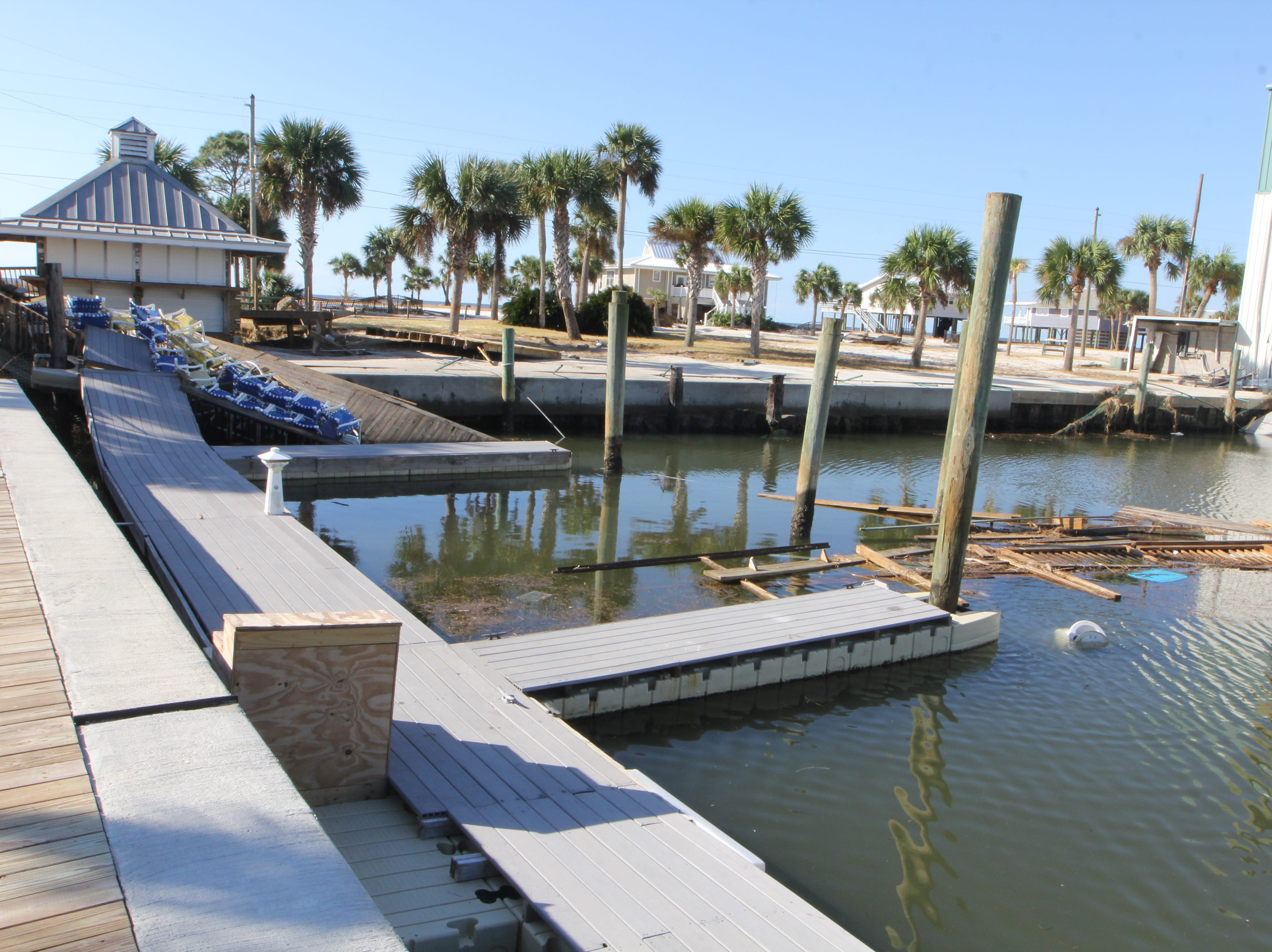 The Alligator Point Marina suffered major damage during Hurricane Michael.