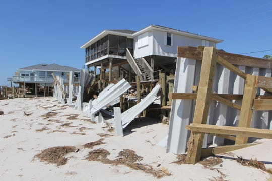 Several homes were badly damaged on Alligator Point during Hurricane Michael.