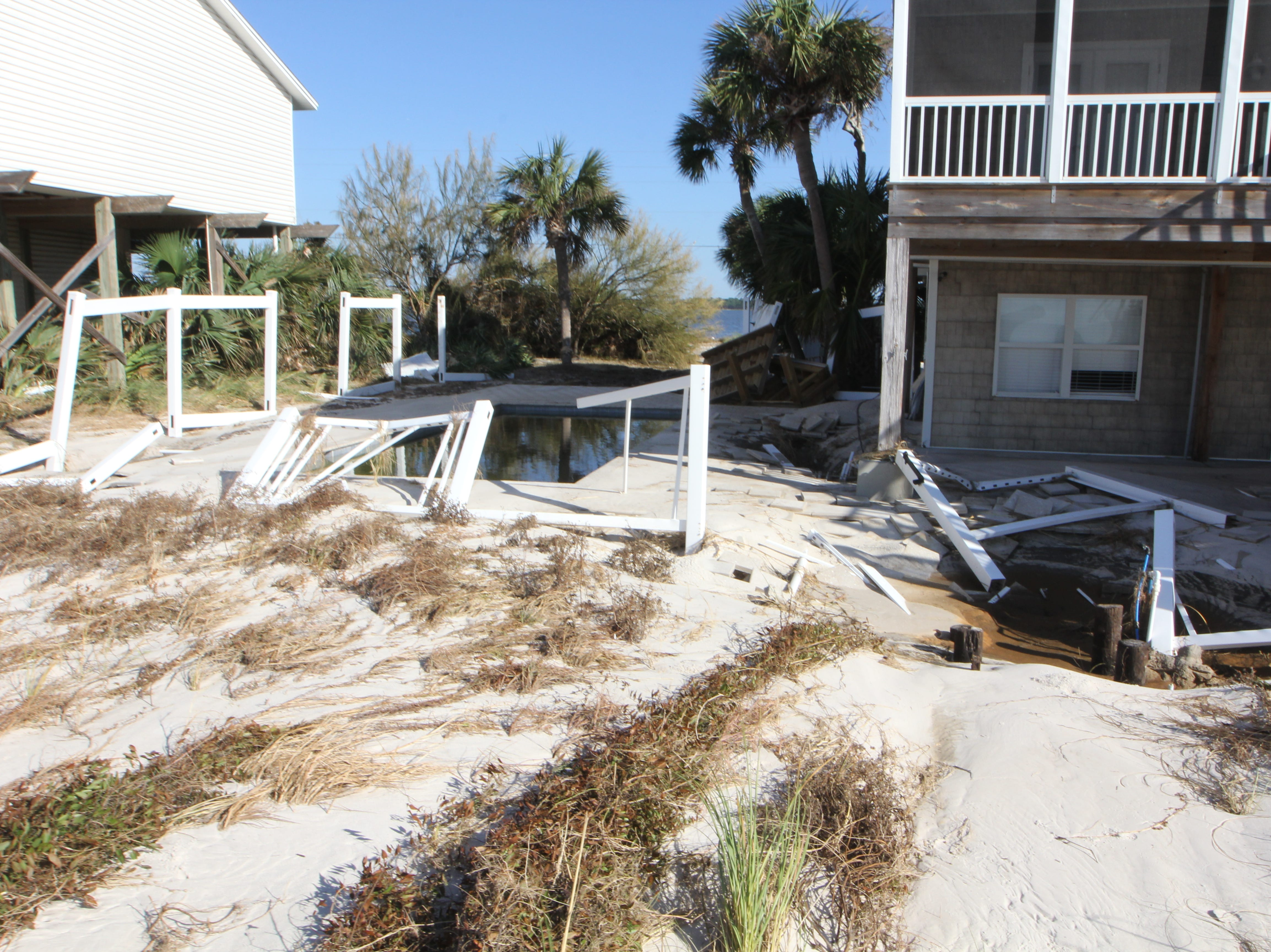 A swimming pool filled with seawater on Alligator Point after Hurricane Michael.