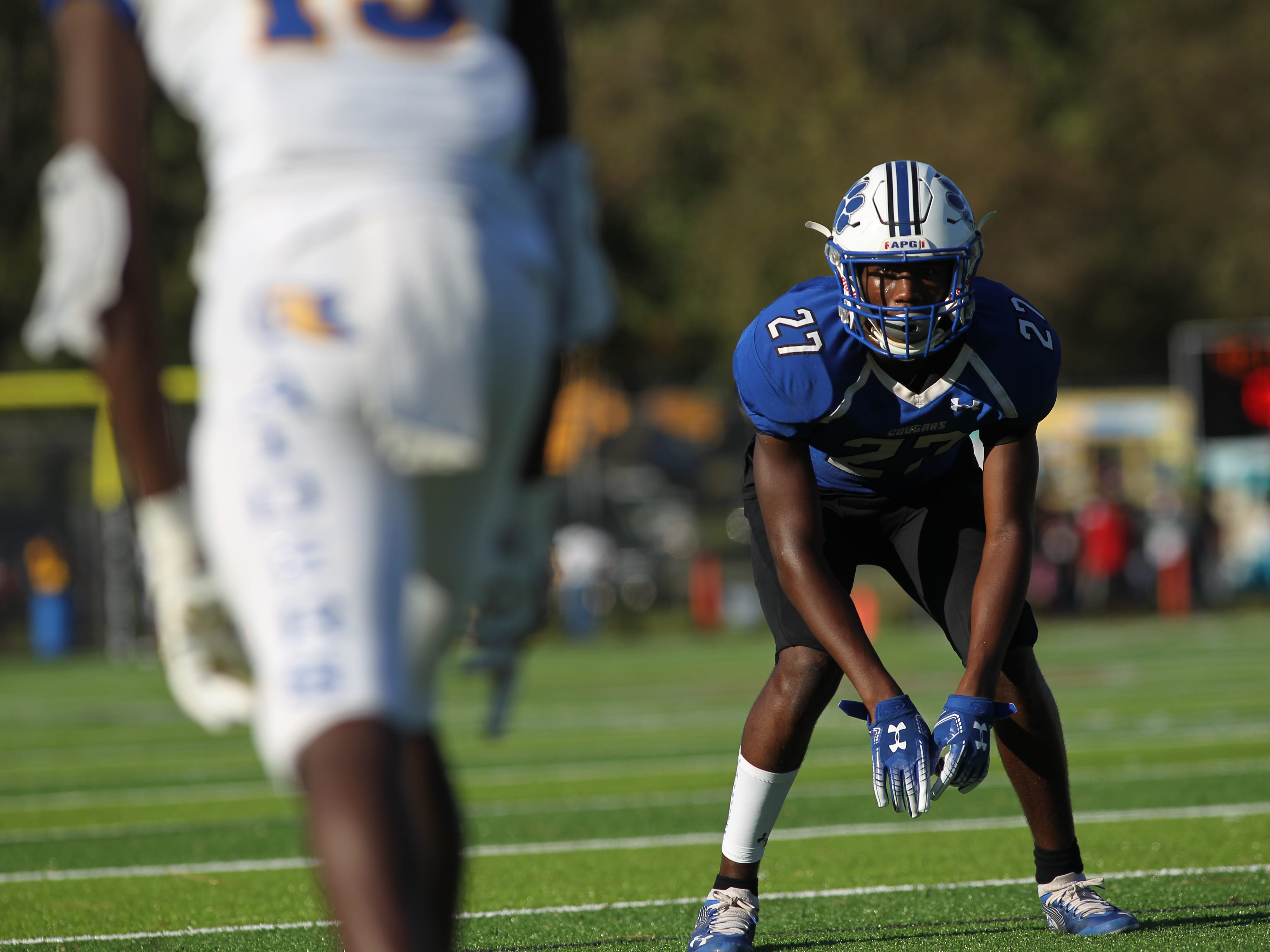 Godby defensive back Keldrick Pompey readies for a play against Rickards.