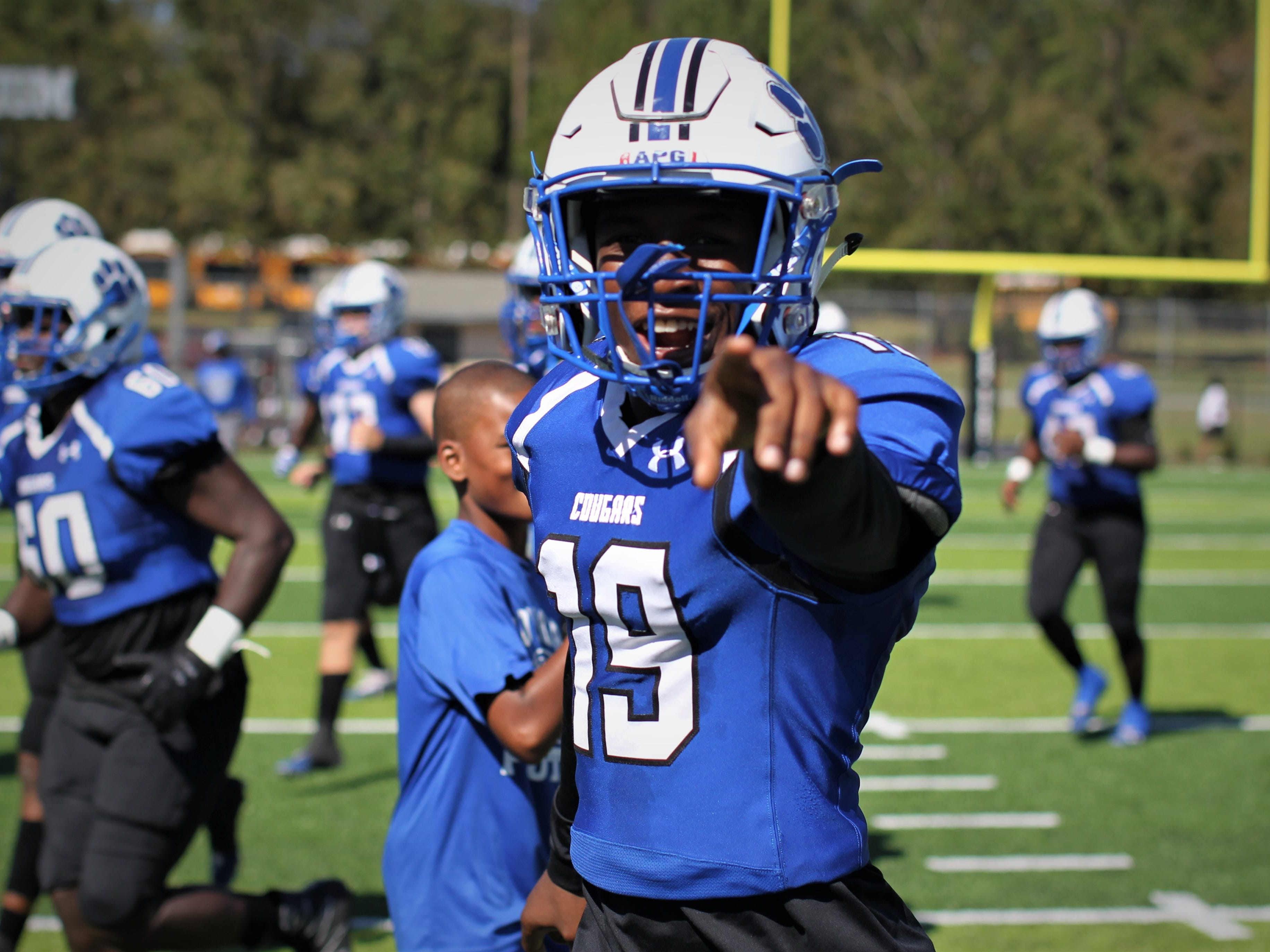 Godby's Queandre Ray gets hyped before playing Rickards.