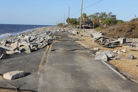 The start of Alligator Drive, the main road out to the end of Alligator Point in Franklin County is gone after Hurricane Michael.