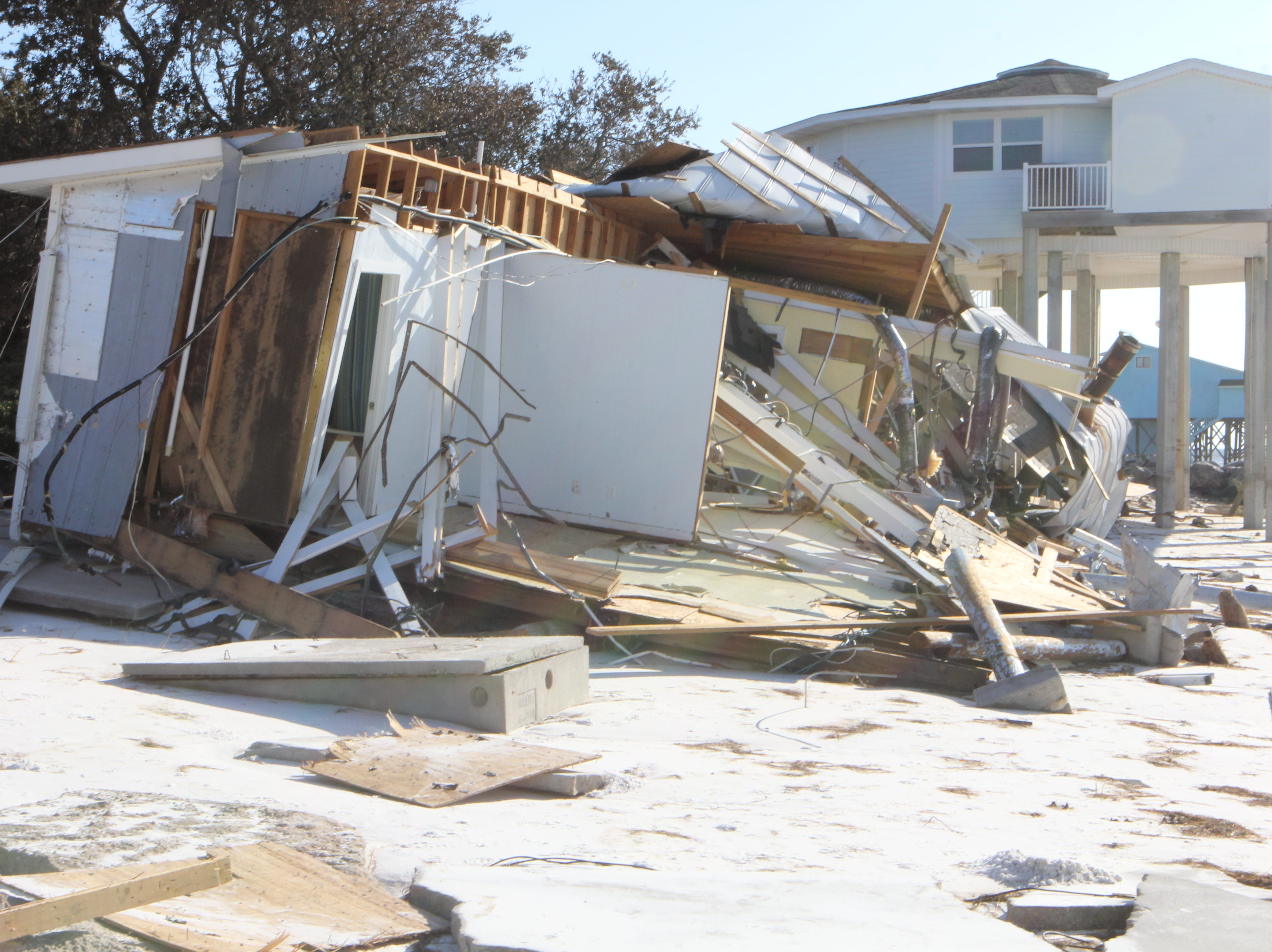 A destroyed house on Alligator Point after Hurricane Michael