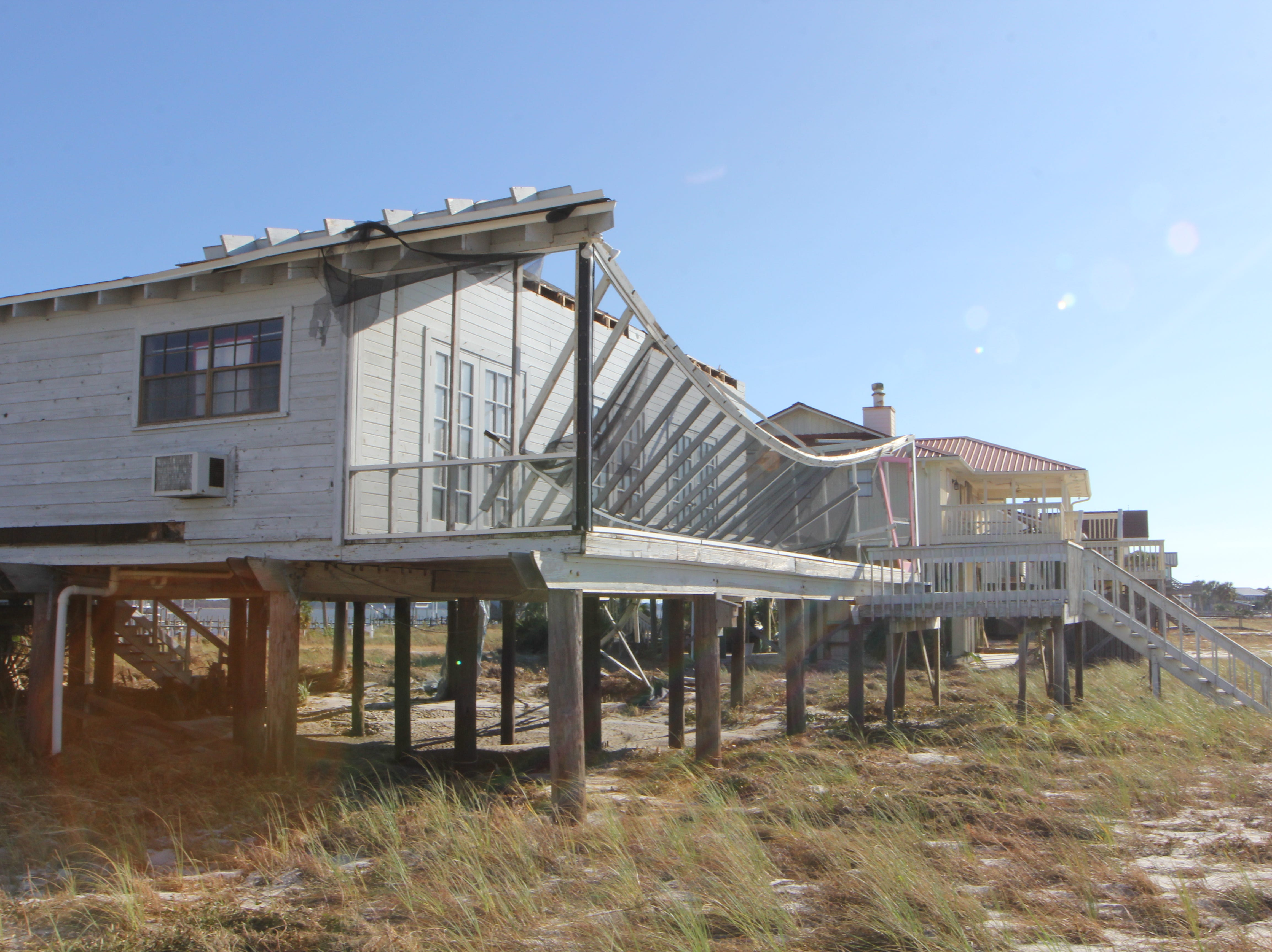 A beachfront home in Alligator Point suffered major damage during Hurricane Michael.
