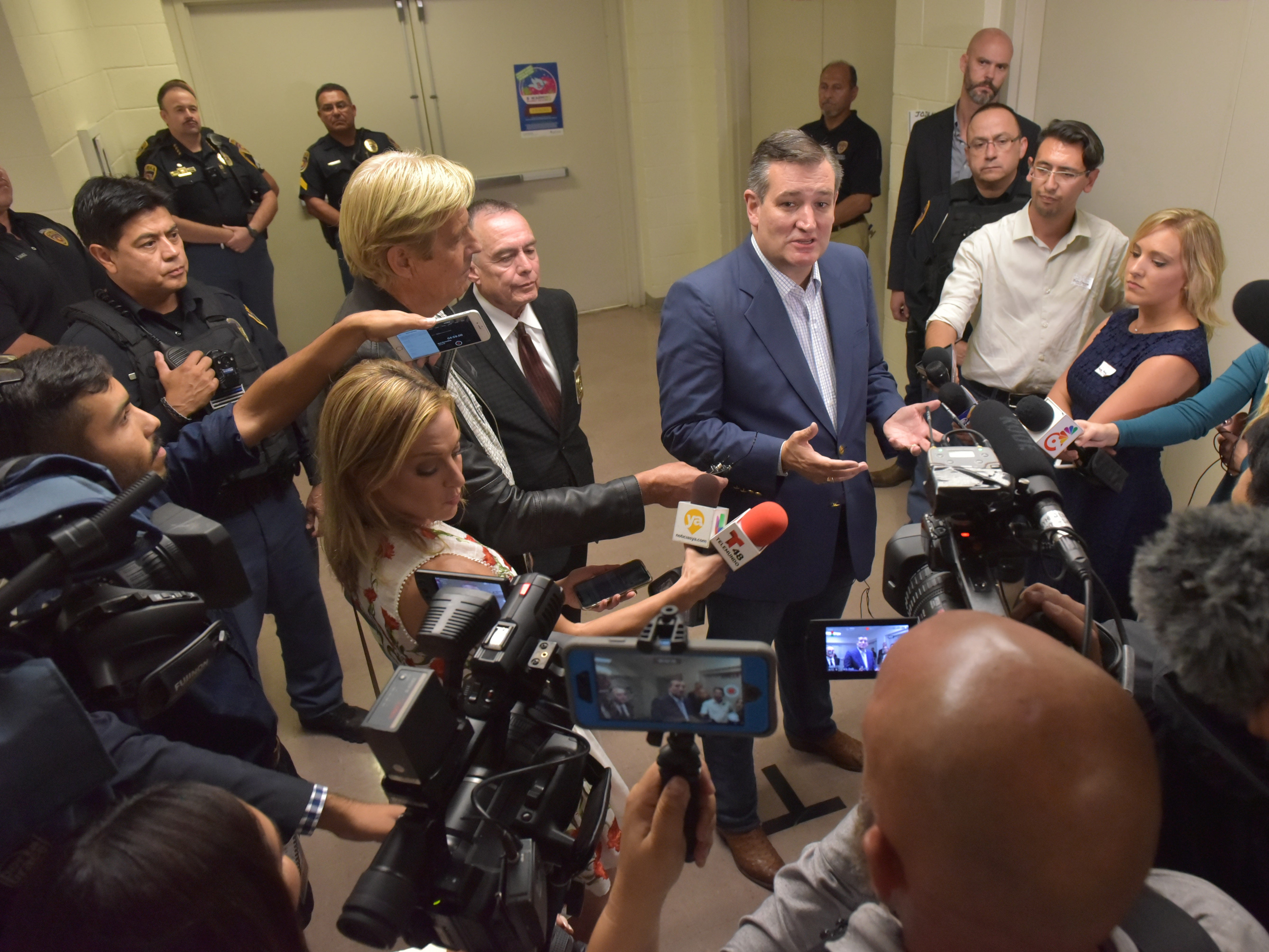 Texas Senator Ted Cruz meets with members of the media before addressing the crowd on hand fired up as he made a stop in El Paso Saturday night at Franklin High School on El Paso's westside.