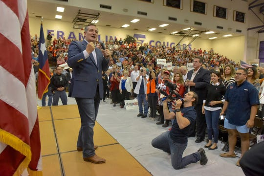 Texas Senator Ted Cruz gets the crowd on hand fired up as he made a stop in El Paso Saturday night at Franklin High School on El Paso's westside.