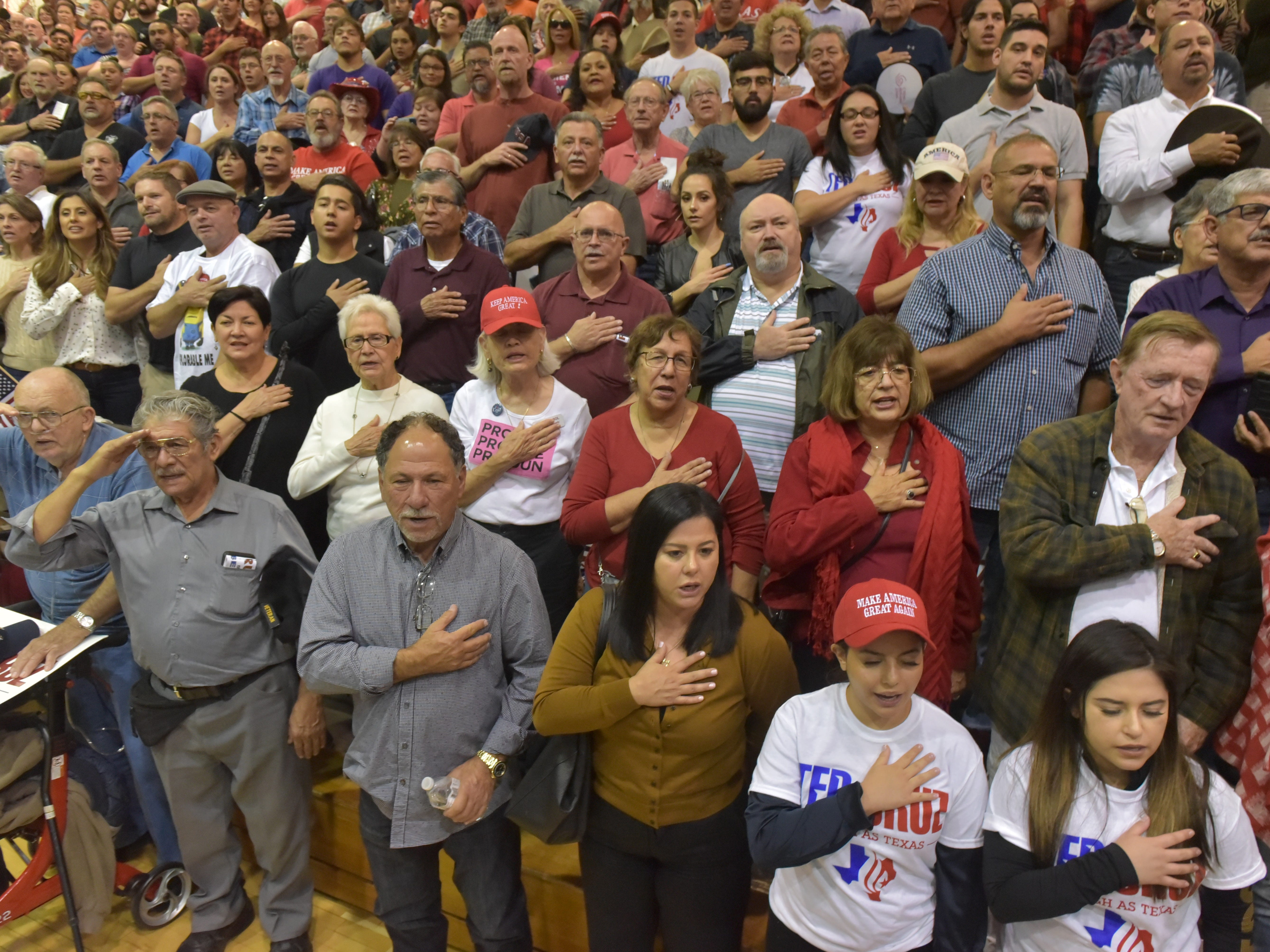 El Pasoans prepare for Texas Senator Ted Cruz to arrive as he made a stop in El Paso Saturday night at Franklin High School on El Paso's westside.