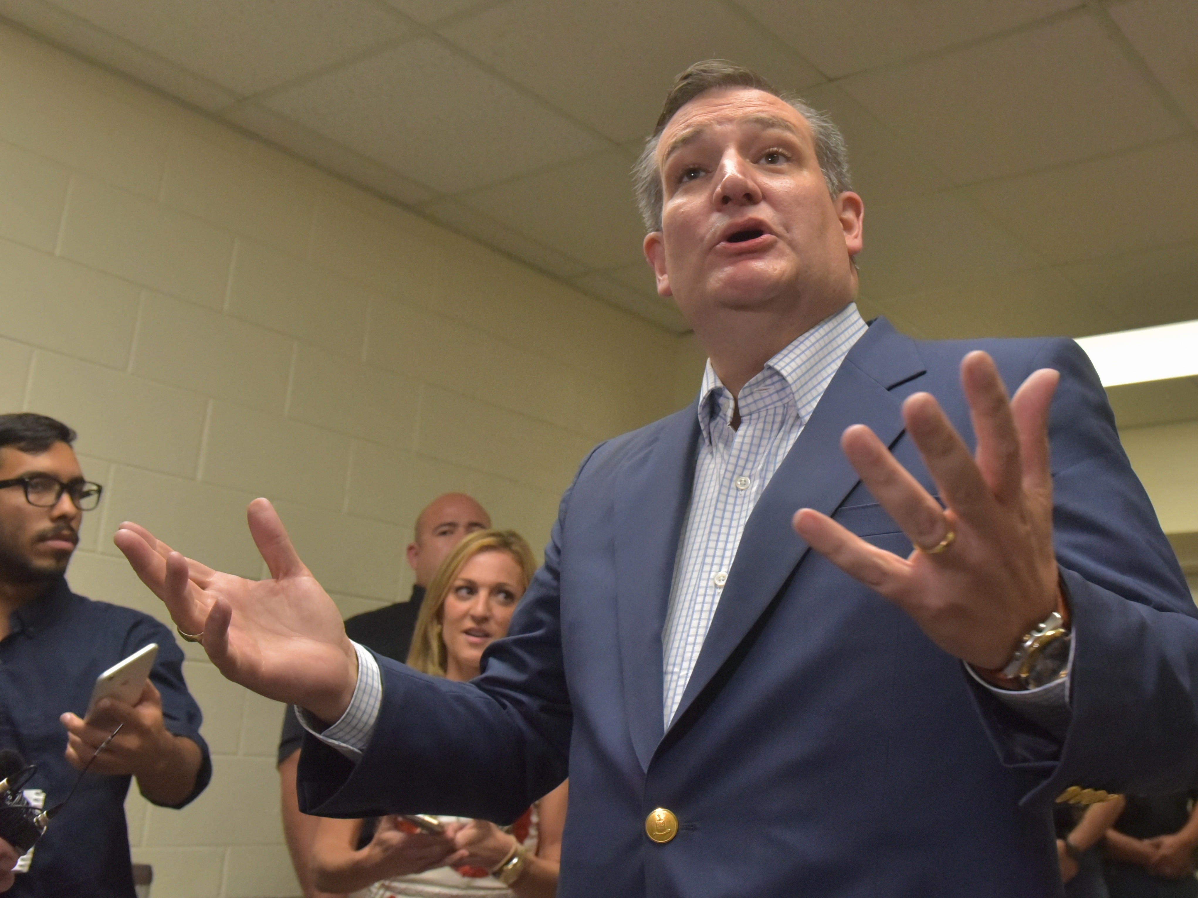 Texas Senator Ted Cruz addressed members of the media before addressing a packed house as he made a stop in El Paso Saturday night at Franklin High School on El Paso's westside.