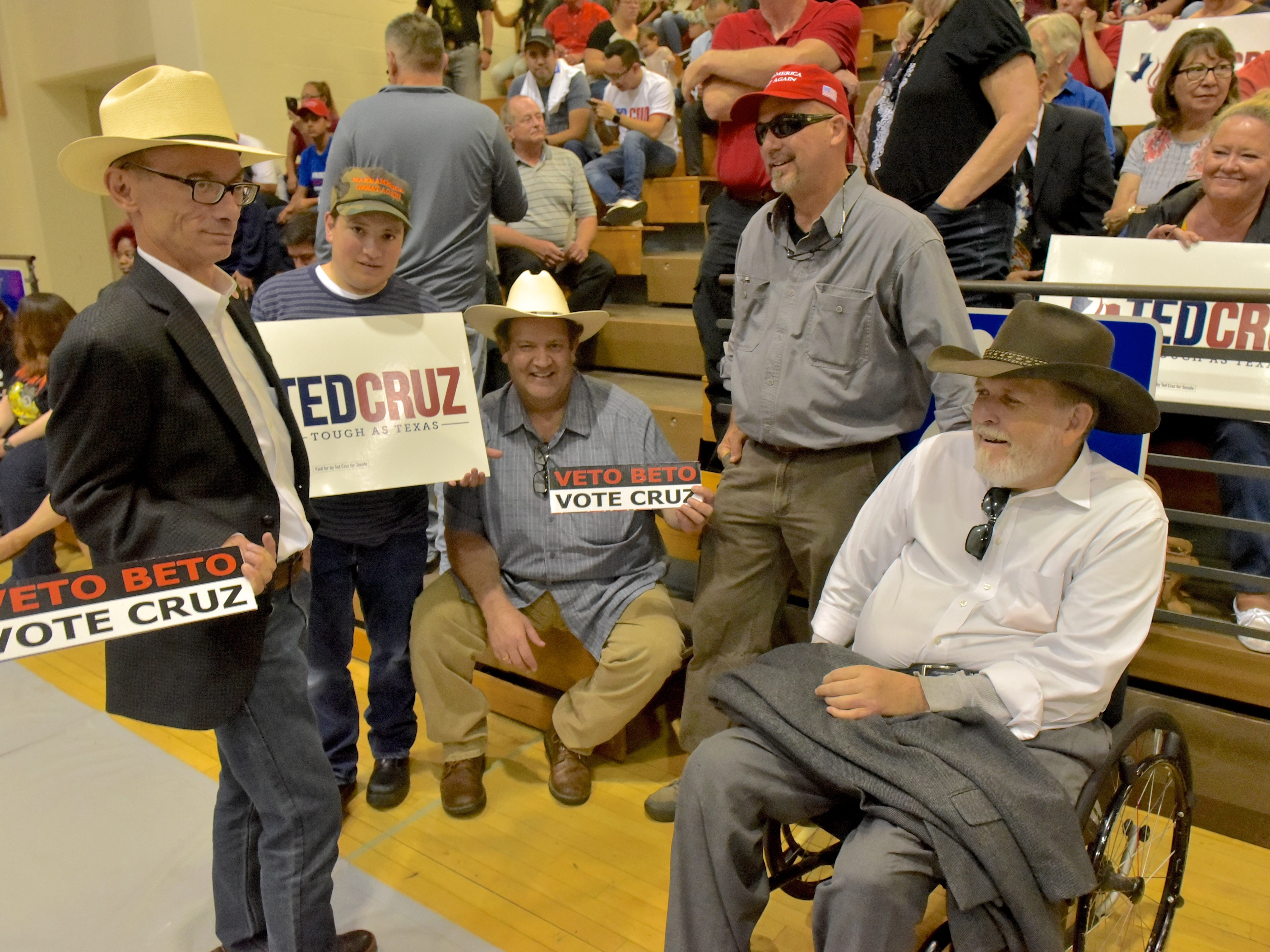 Supporters of Texas Senator Ted Cruz wait for Cruz to appear as he made a stop in El Paso Saturday night at Franklin High School on El Paso's westside.