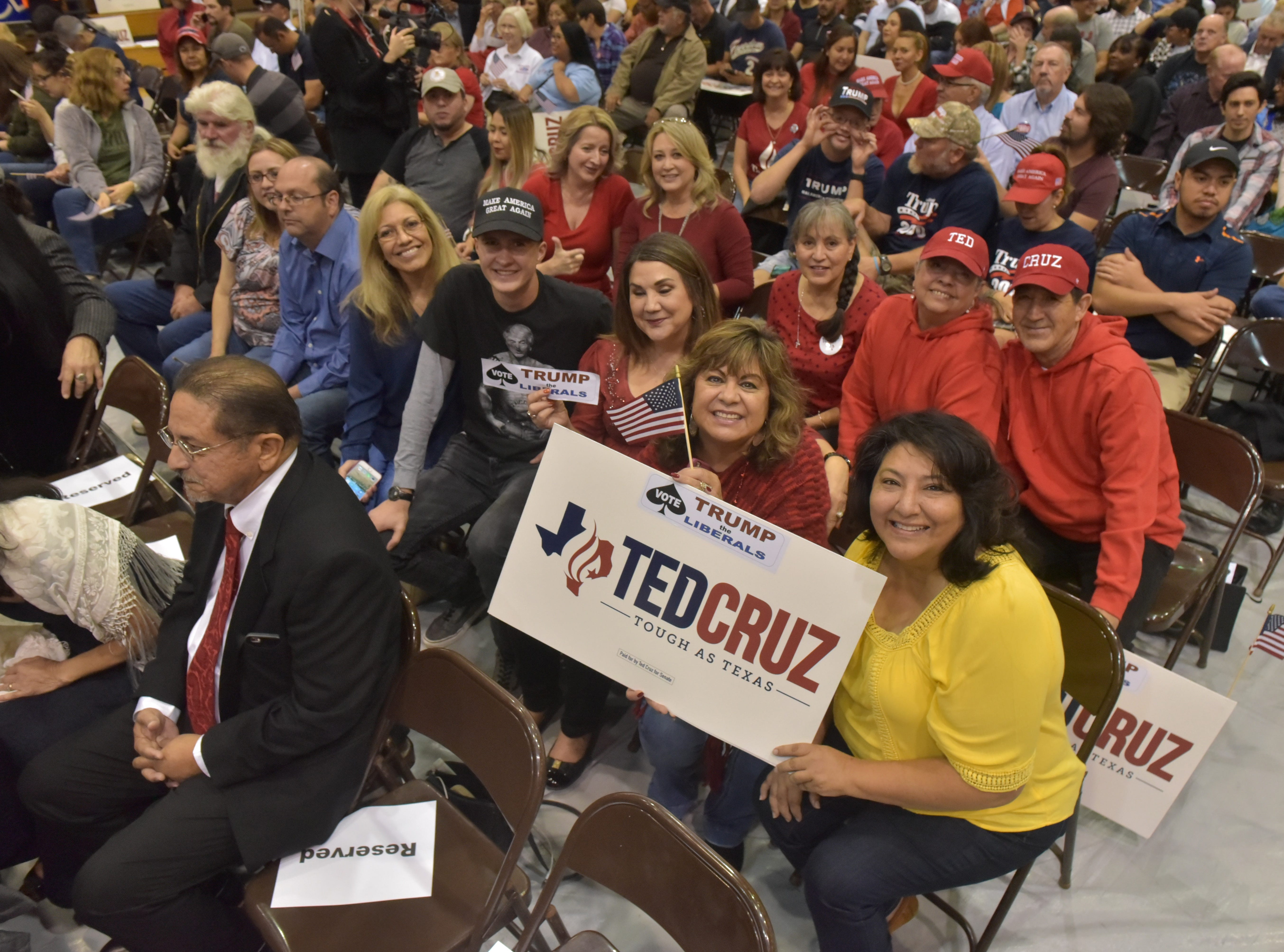 Supporters of Texas Senator Ted Cruz wait for him to appear as he made a stop in El Paso Saturday night at Franklin High School on El Paso's westside.