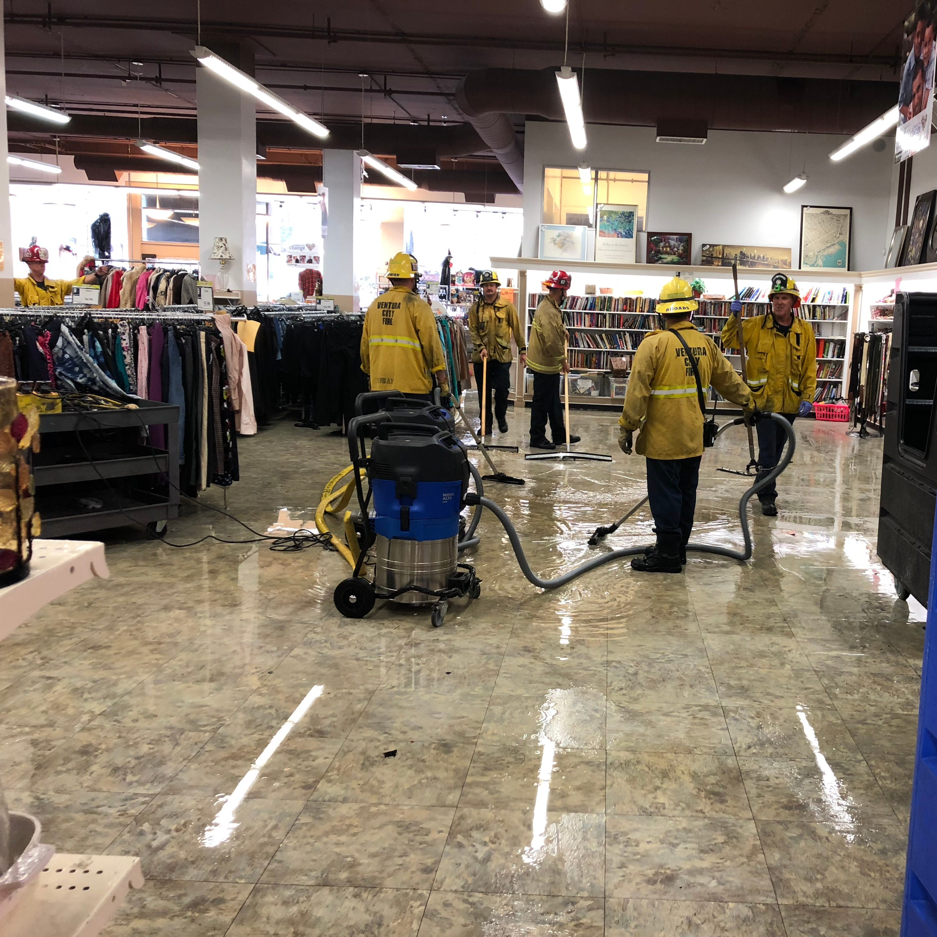 Firefighters assist with flooding at Goodwill in Ventura