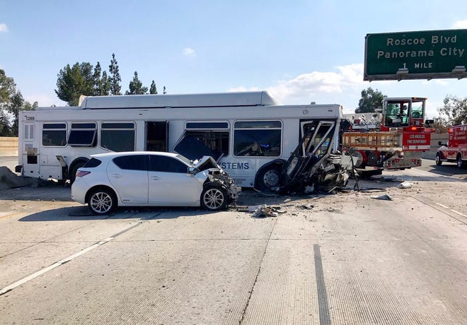 A crash involving a bus on Interstate 405 in the San Fernando Valley Sunday afternoon was impacting traffic, including on Highway 118. Thirty or more people were injured, officials said.