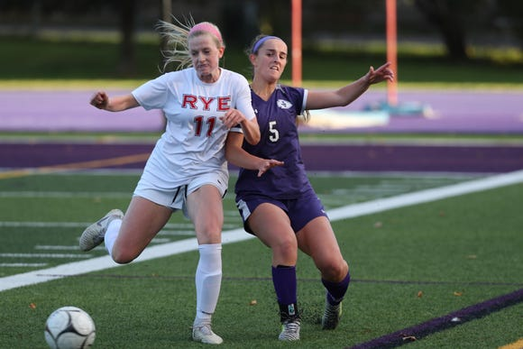 John Jay and Rye in girls soccer action at John Jay High School in Cross River Oct. 13, 2018.