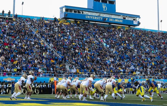 Elon is lined up deep in its own territory in the second quarter at Delaware Stadium this season.